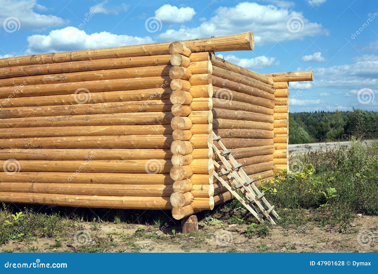 Construction en bois de maison des rondins verticaux photo for Construction en rondin bois