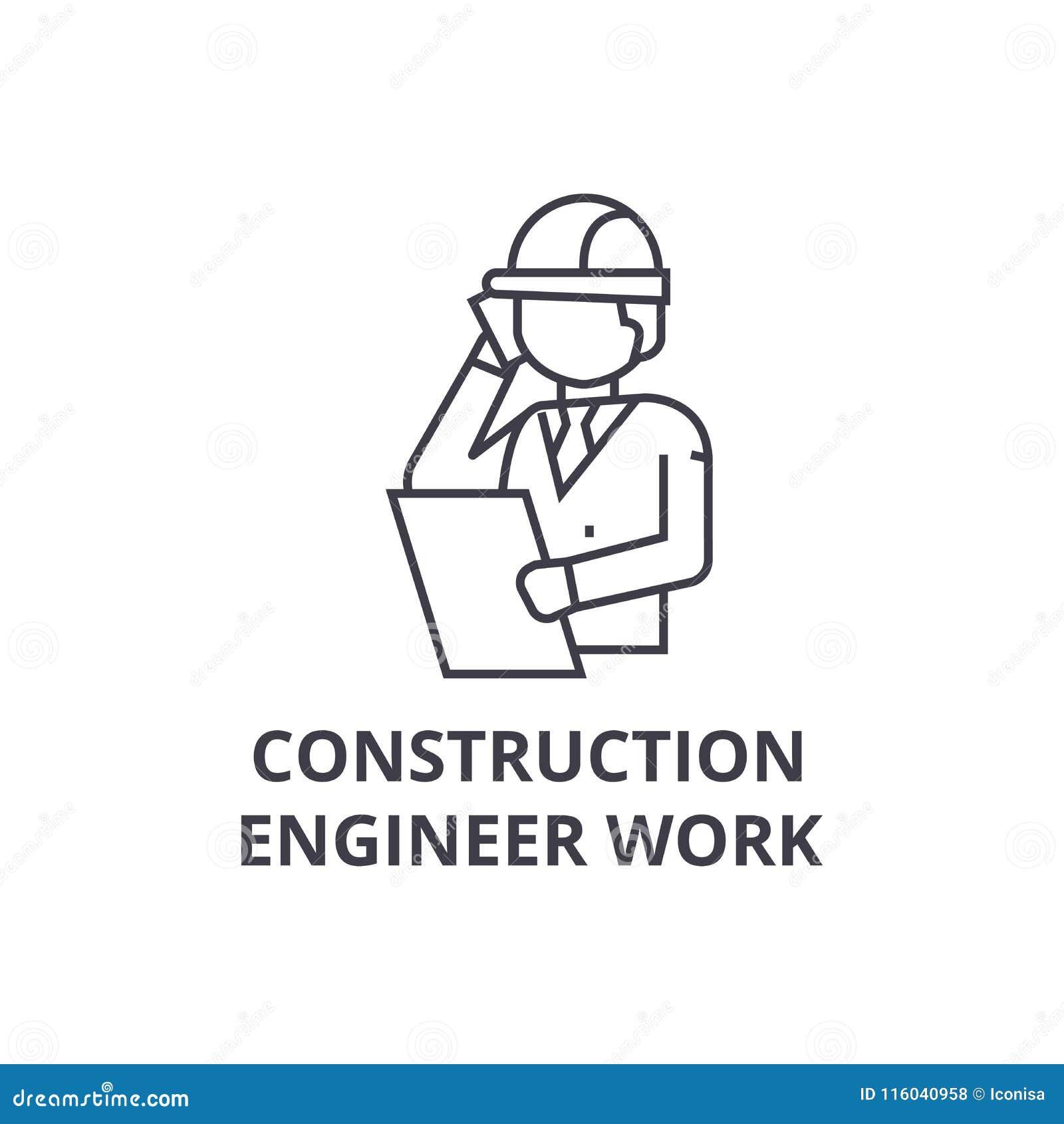 Construction engineer talk vector line icon, sign, illustration on background, editable strokes