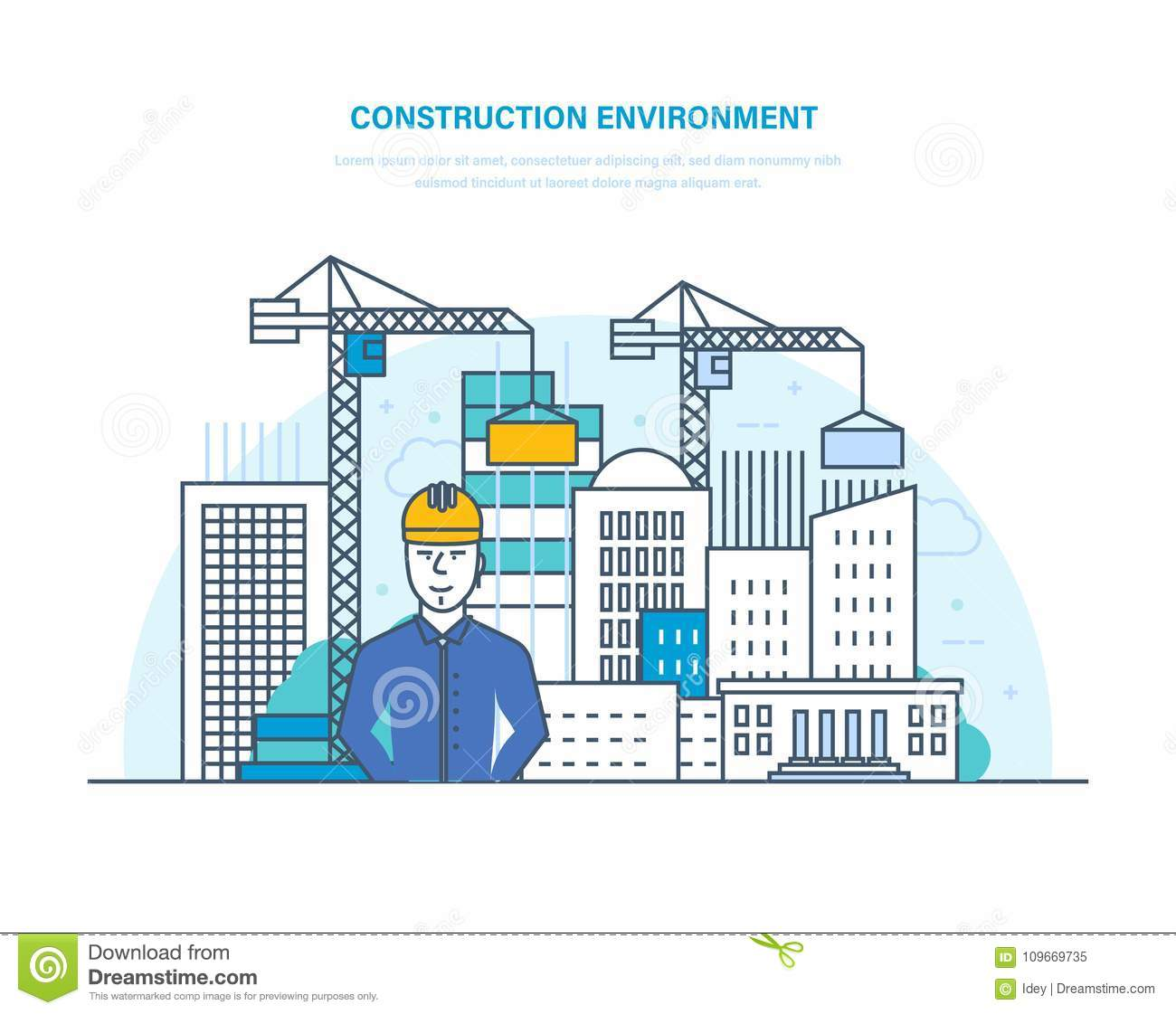 Construction environment. Control for process building home. Building construction, engineering.