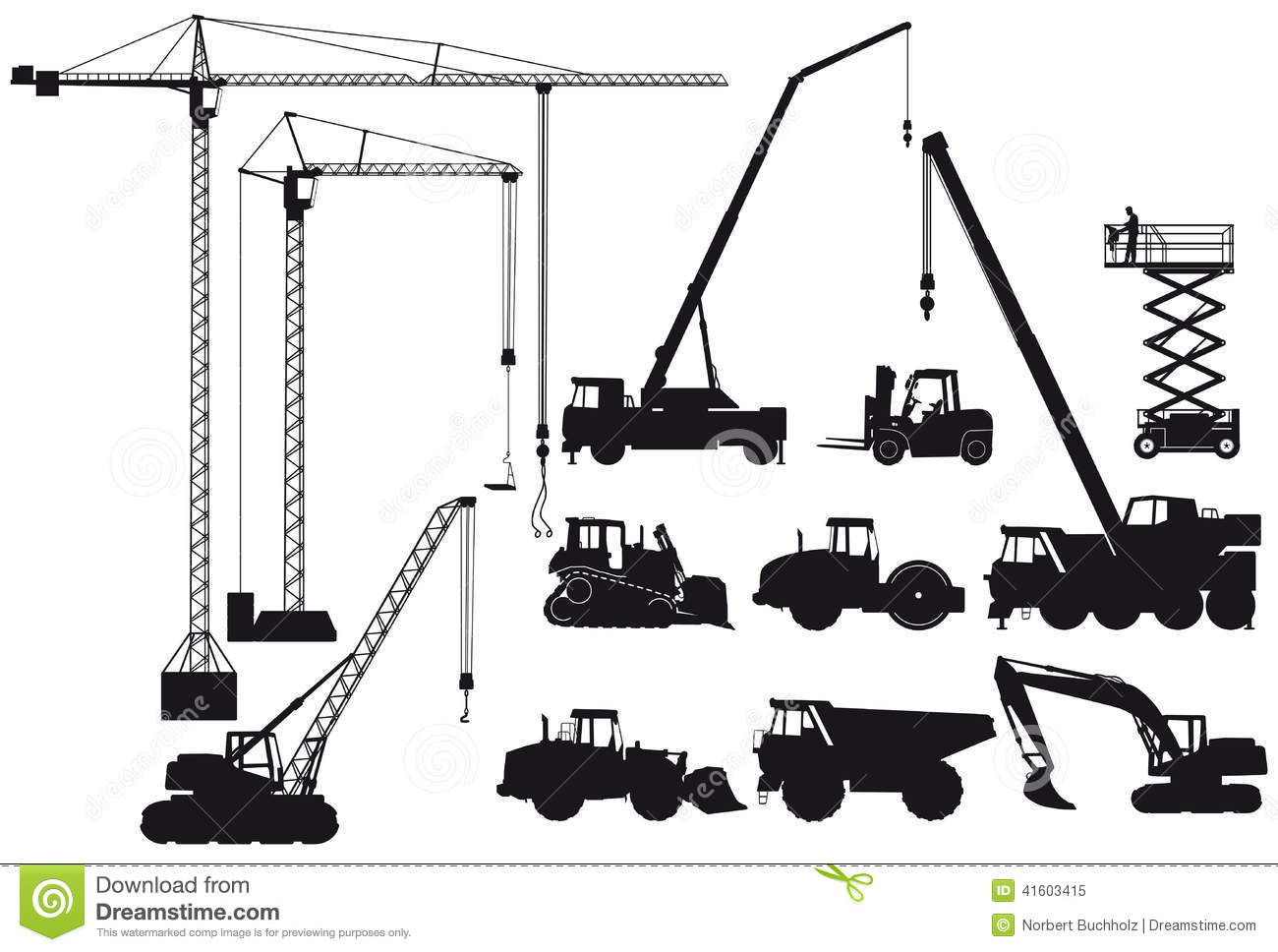 Heavy Equipment Silhouette : Construction equipment silhouettes stock vector image