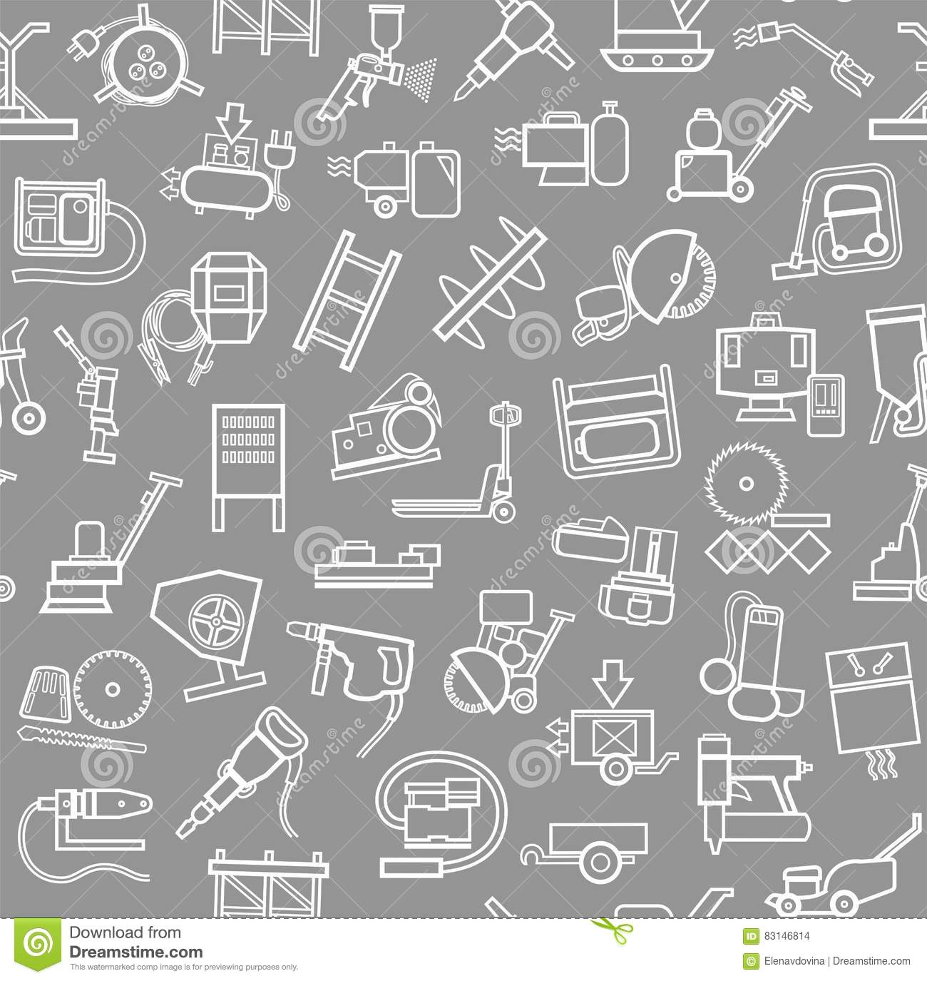 Construction Equipment And Tools Seamless Background Grey Contour