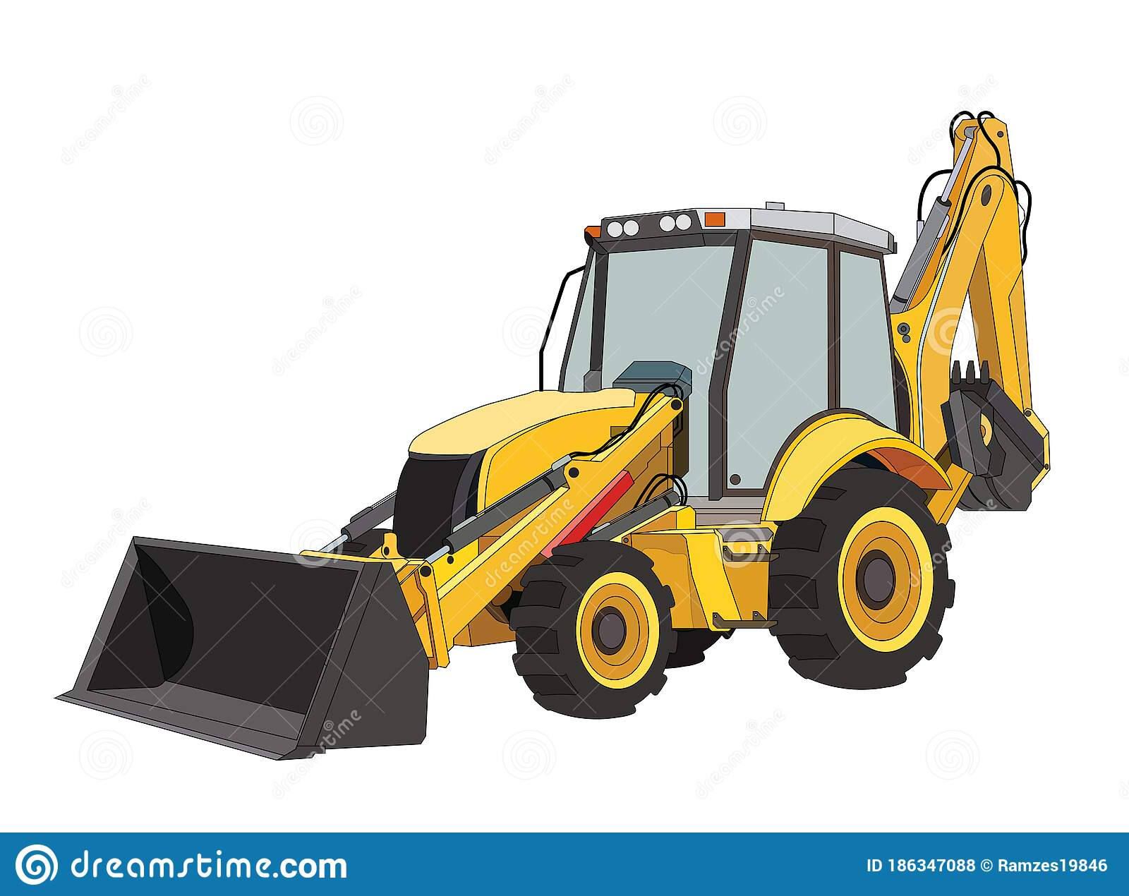 Construction Equipment Tractor In Black And Yellow Colors. Industrial  Machinery And Equipment. Isolated Vector On White Stock Vector -  Illustration of bucket, dump: 186347088