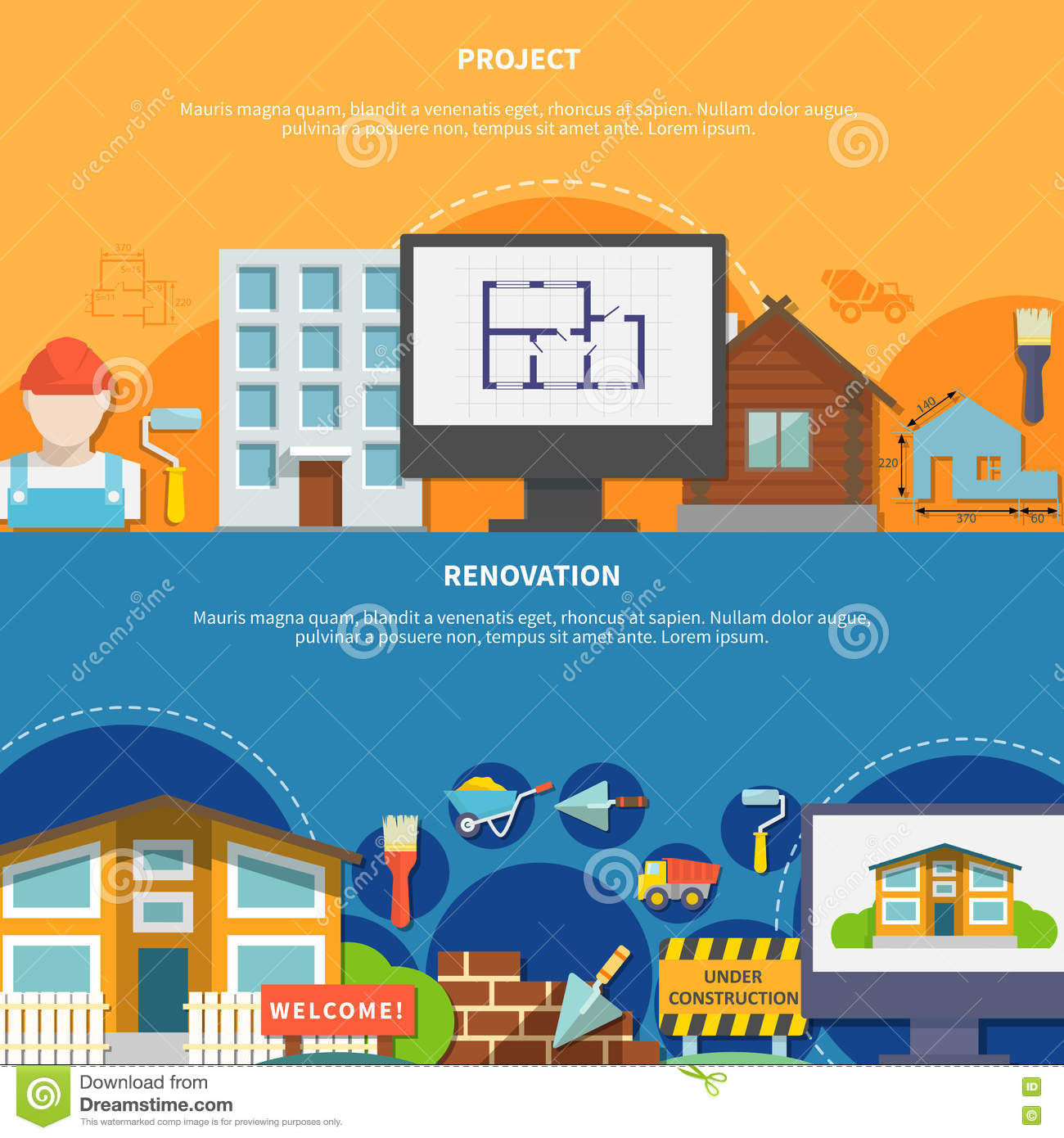 Construction flat horizontal banners stock vector image for Horizontal house plans