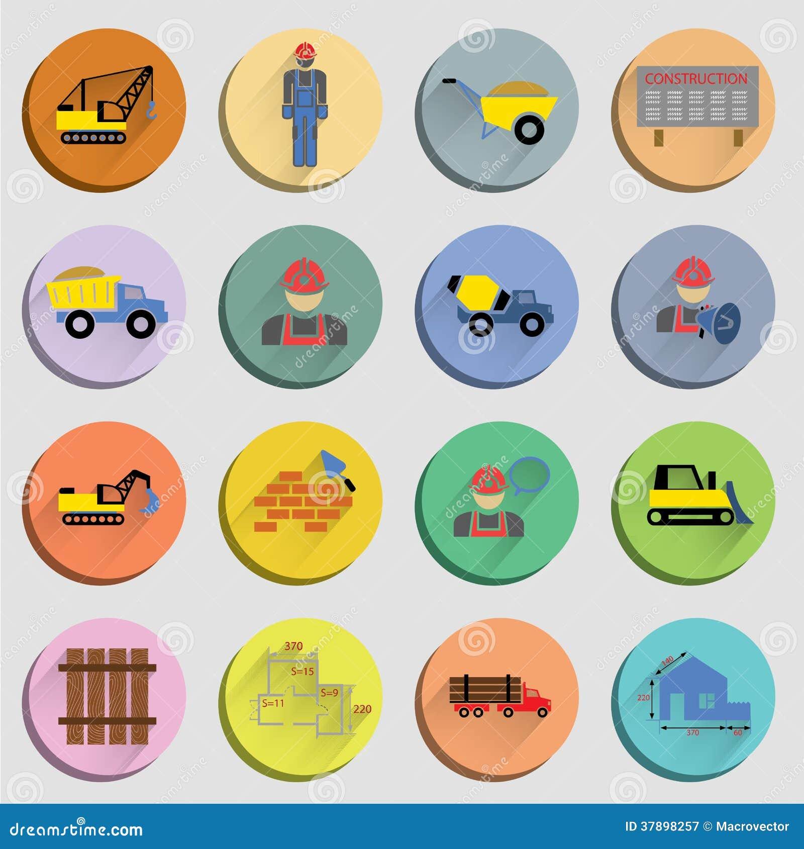 Construction Flat Icons Set Royalty Free Stock Photography - Image ...