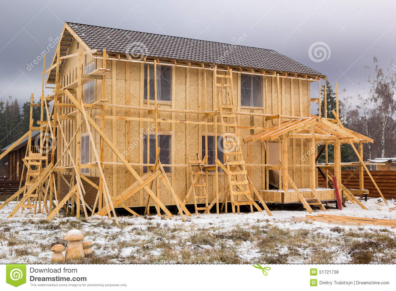 Construction of a frame house stock photo image of for Frame house