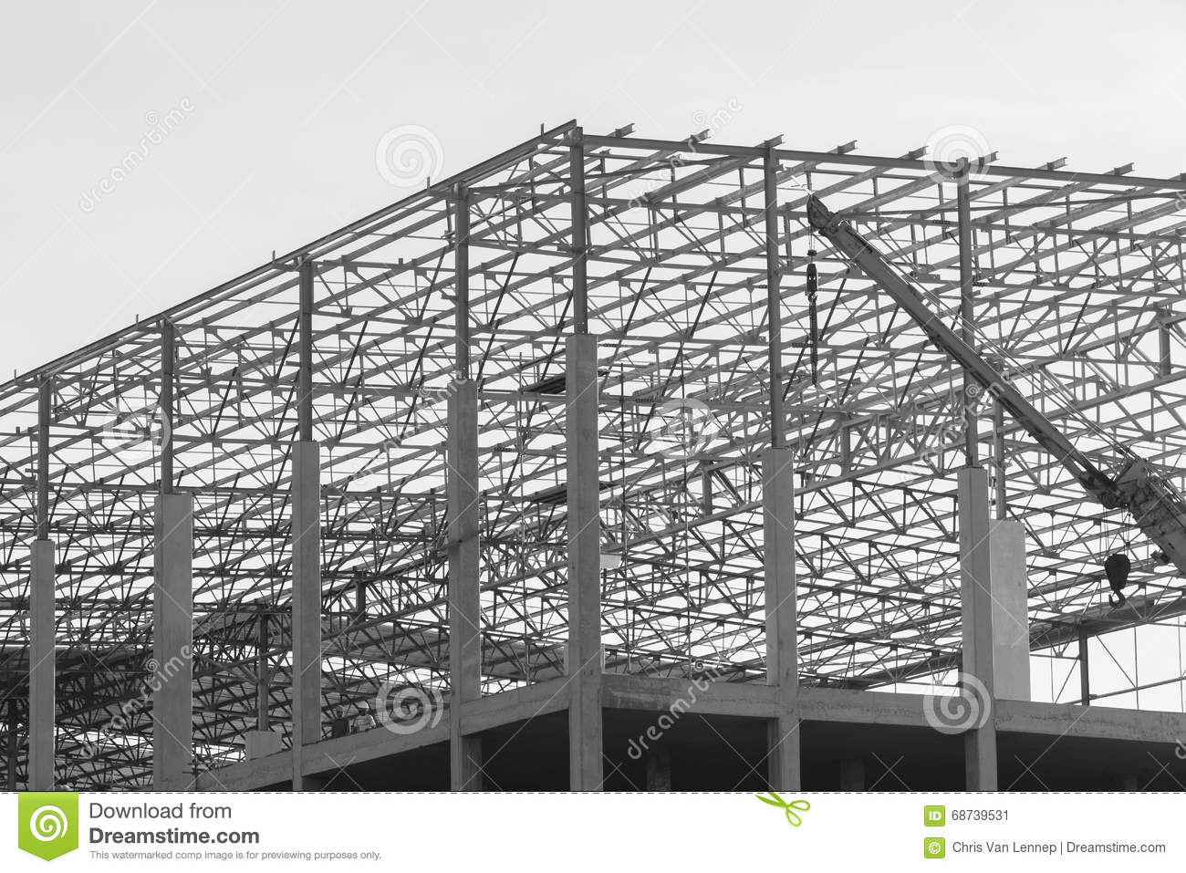 Black And White Building Construction : Construction framework building black and white stock