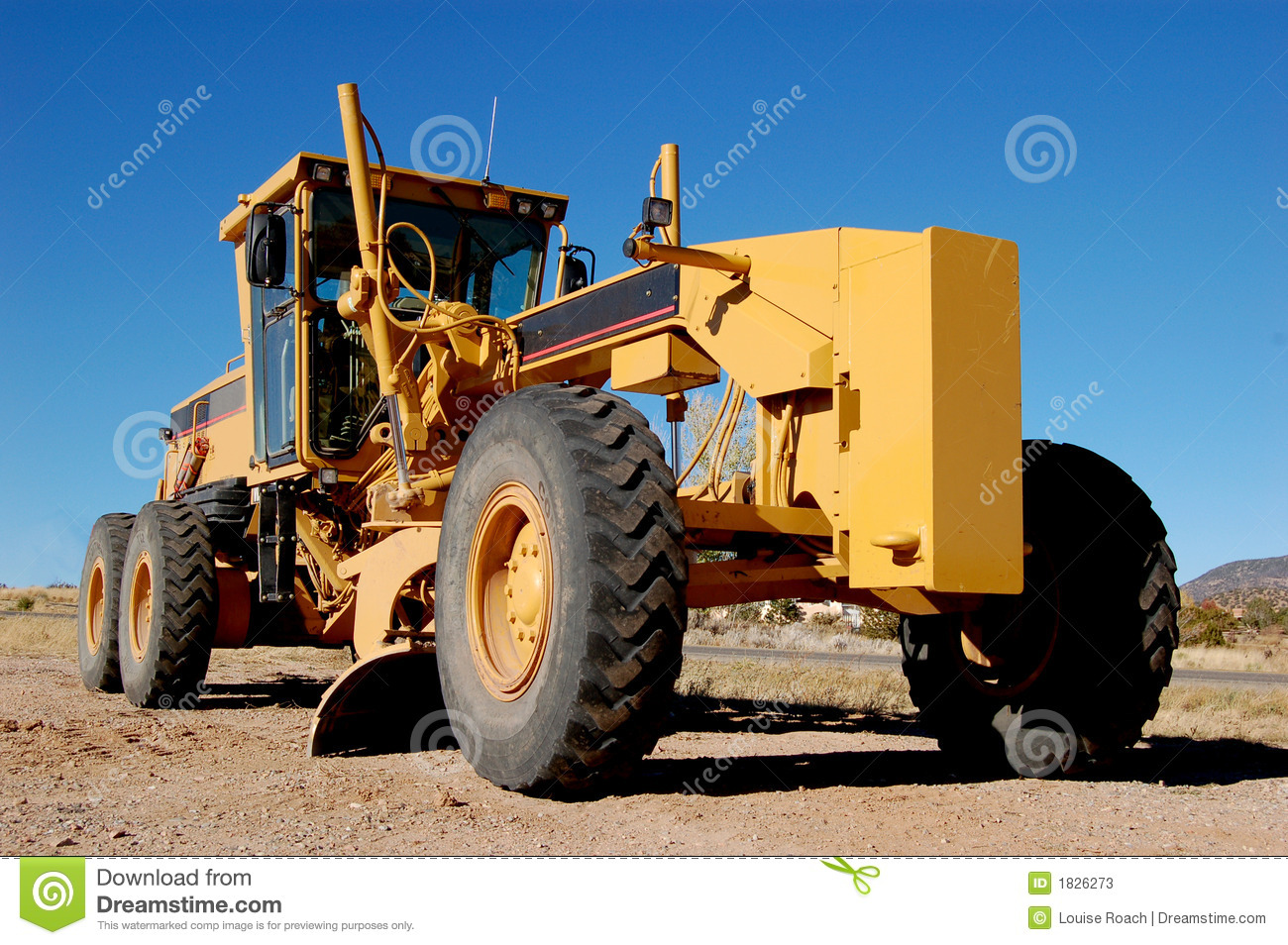 Construction Grader On Dirt Road Stock Image Image Of