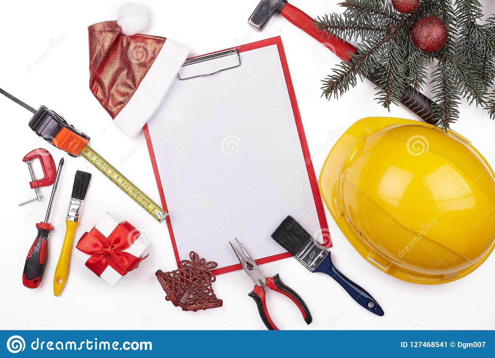 Construction Hard Hat And Christmas. Stock Image - Image of gift ...