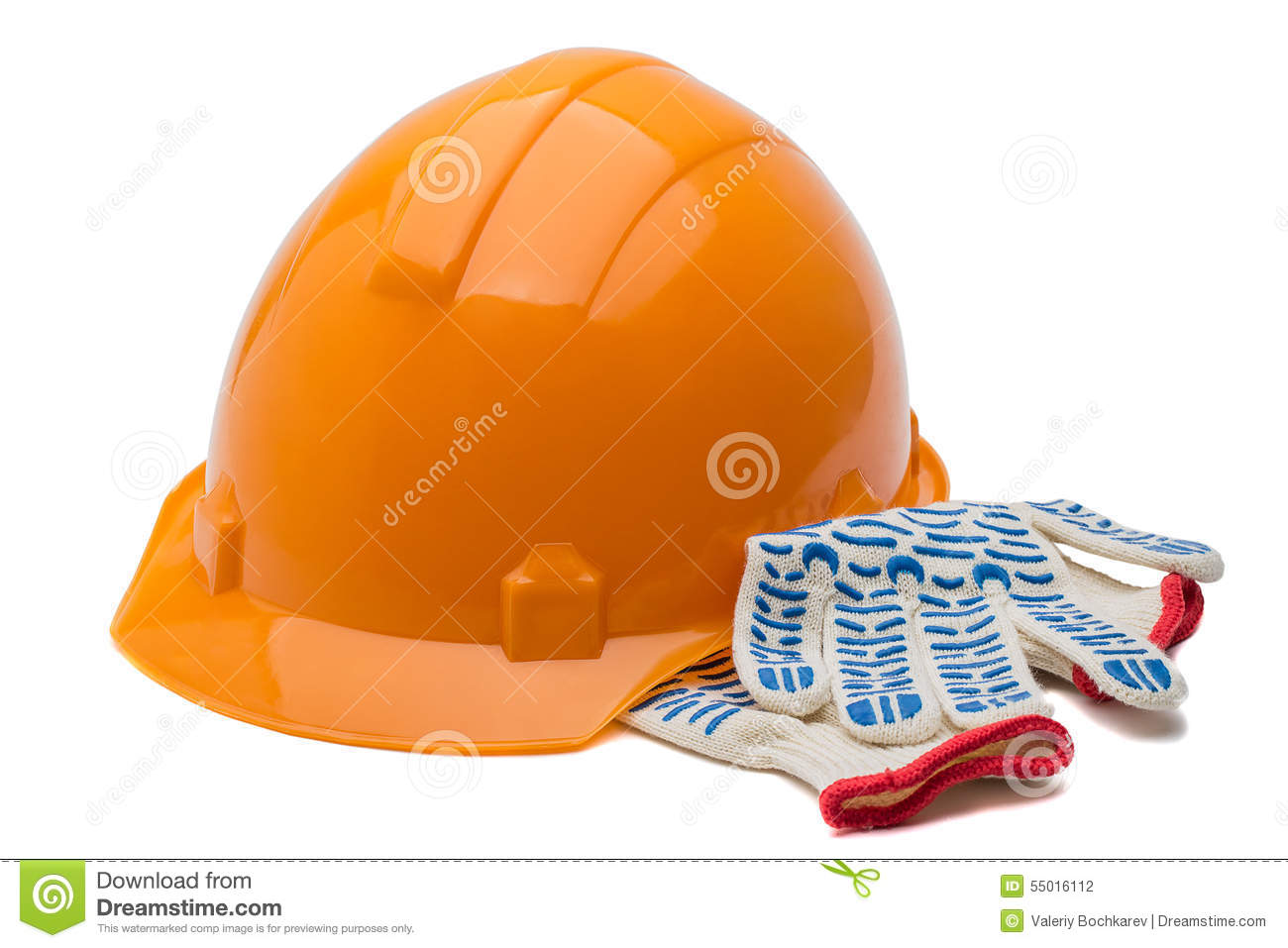 Construction hard hat and gloves, isolated over white