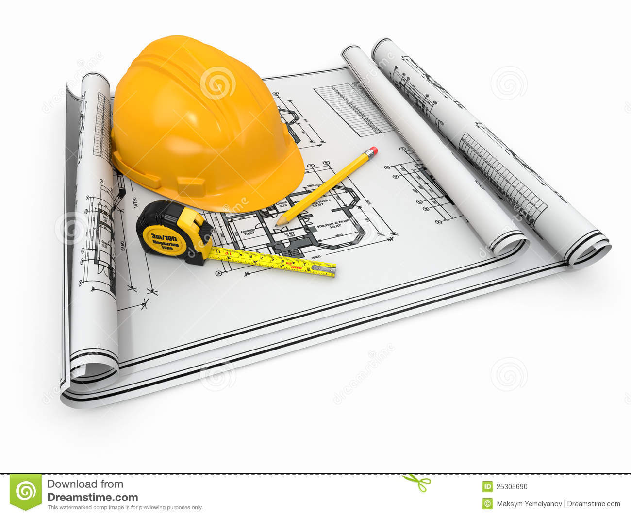 Construction hardhat blueprint and rulers stock illustration construction hardhat blueprint and rulers malvernweather Images