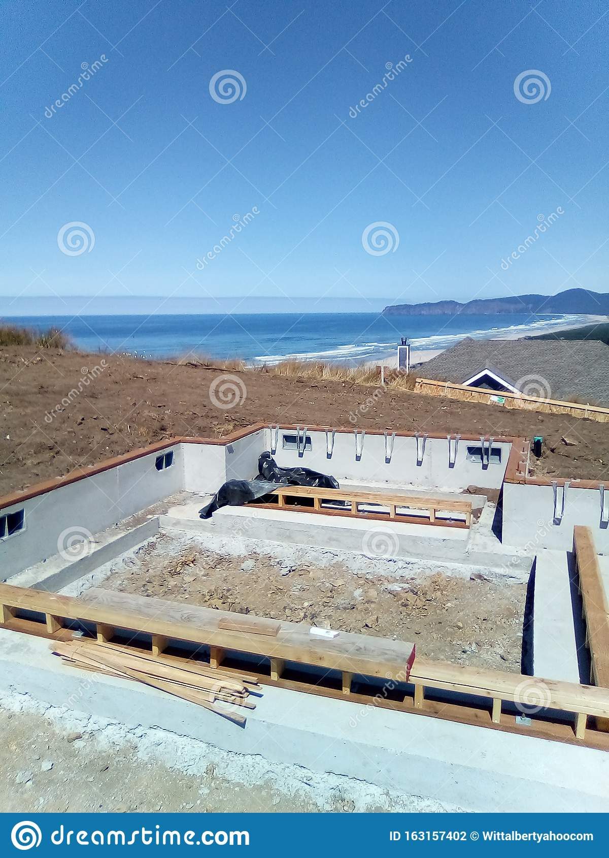 Construction On Hillside Stock Photo Image Of Ocean 163157402