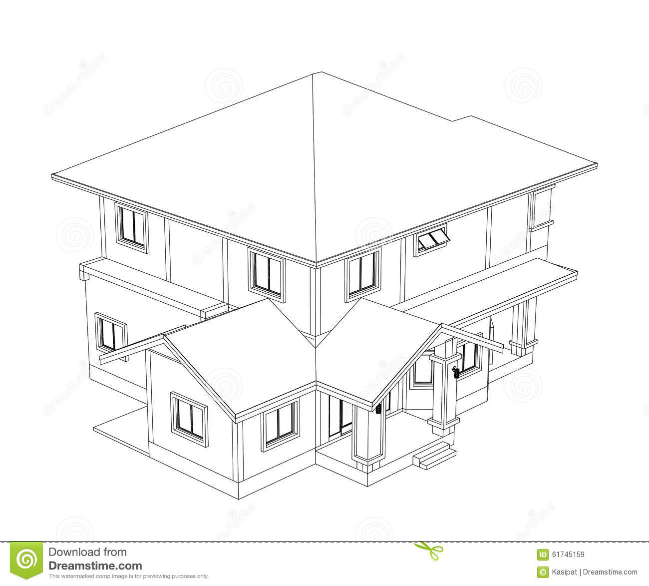 Construction home drawing stock illustration image 61745159 for Building design and drawing