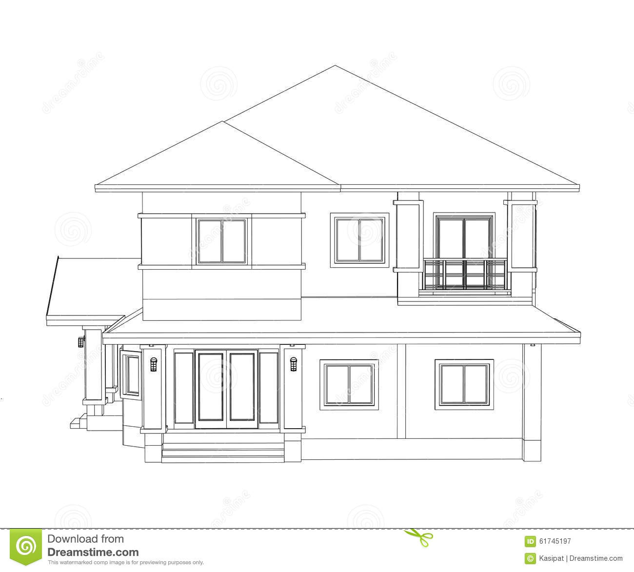 Construction home drawing stock illustration image 61745197 for Architect drawing house plans