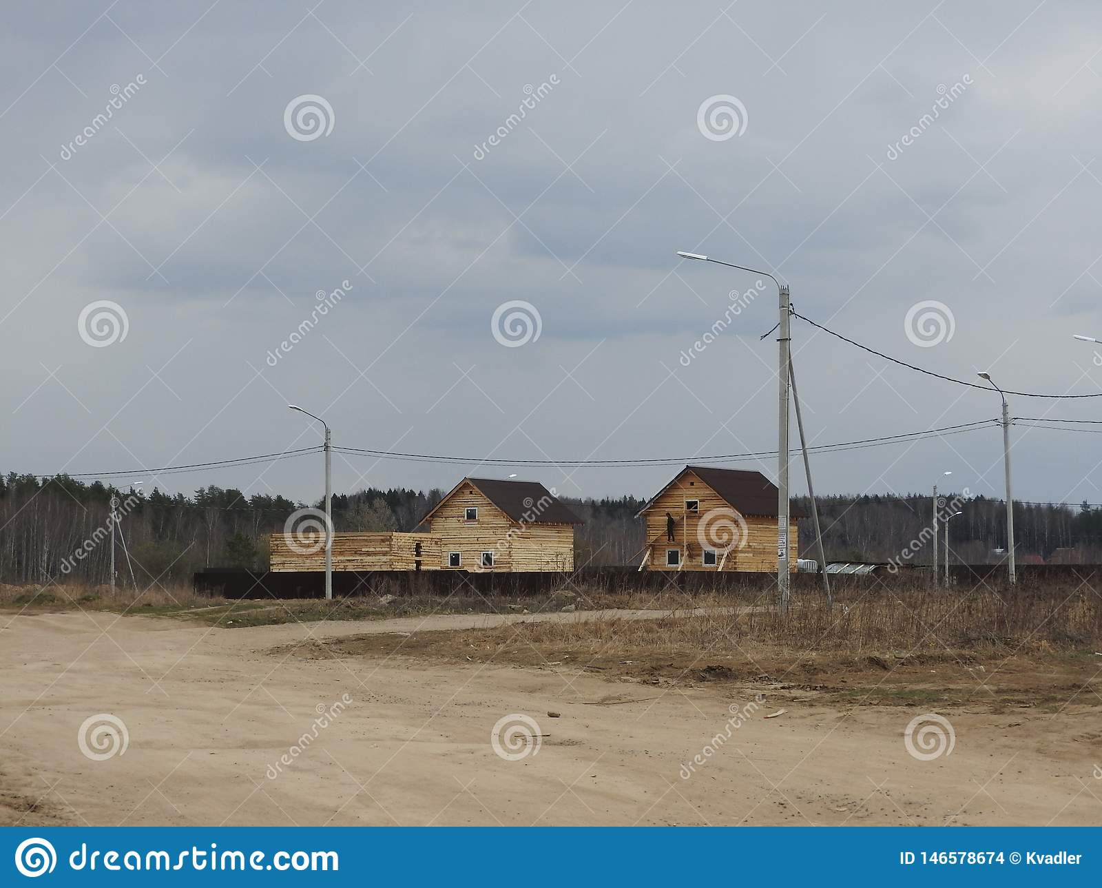 Construction of a house made of laminated veneer lumber. The frame of the house. Cottage made of laminated wood. Erection of the