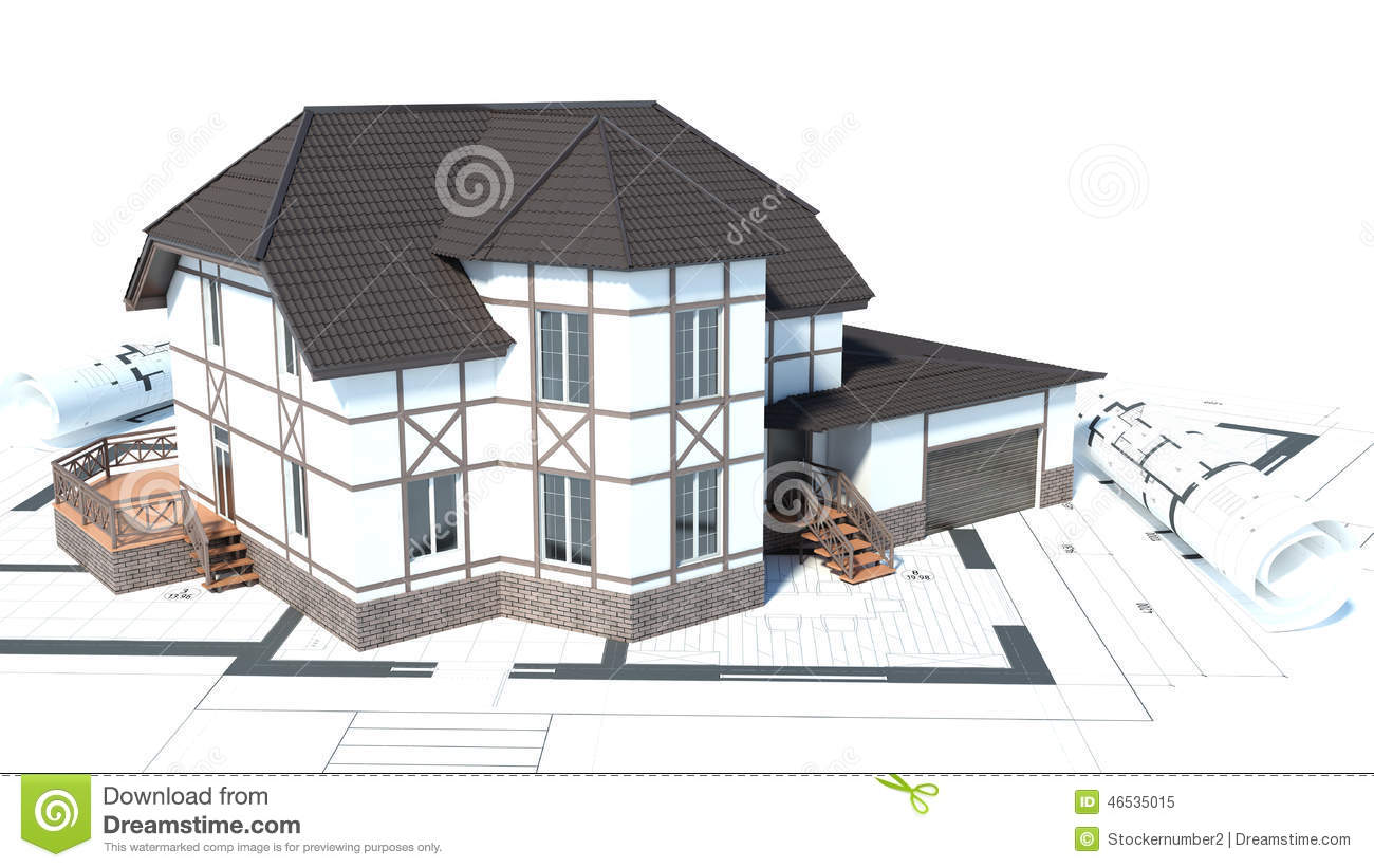 Construction of houses drawings 3d illustration stock for Contractors for building houses