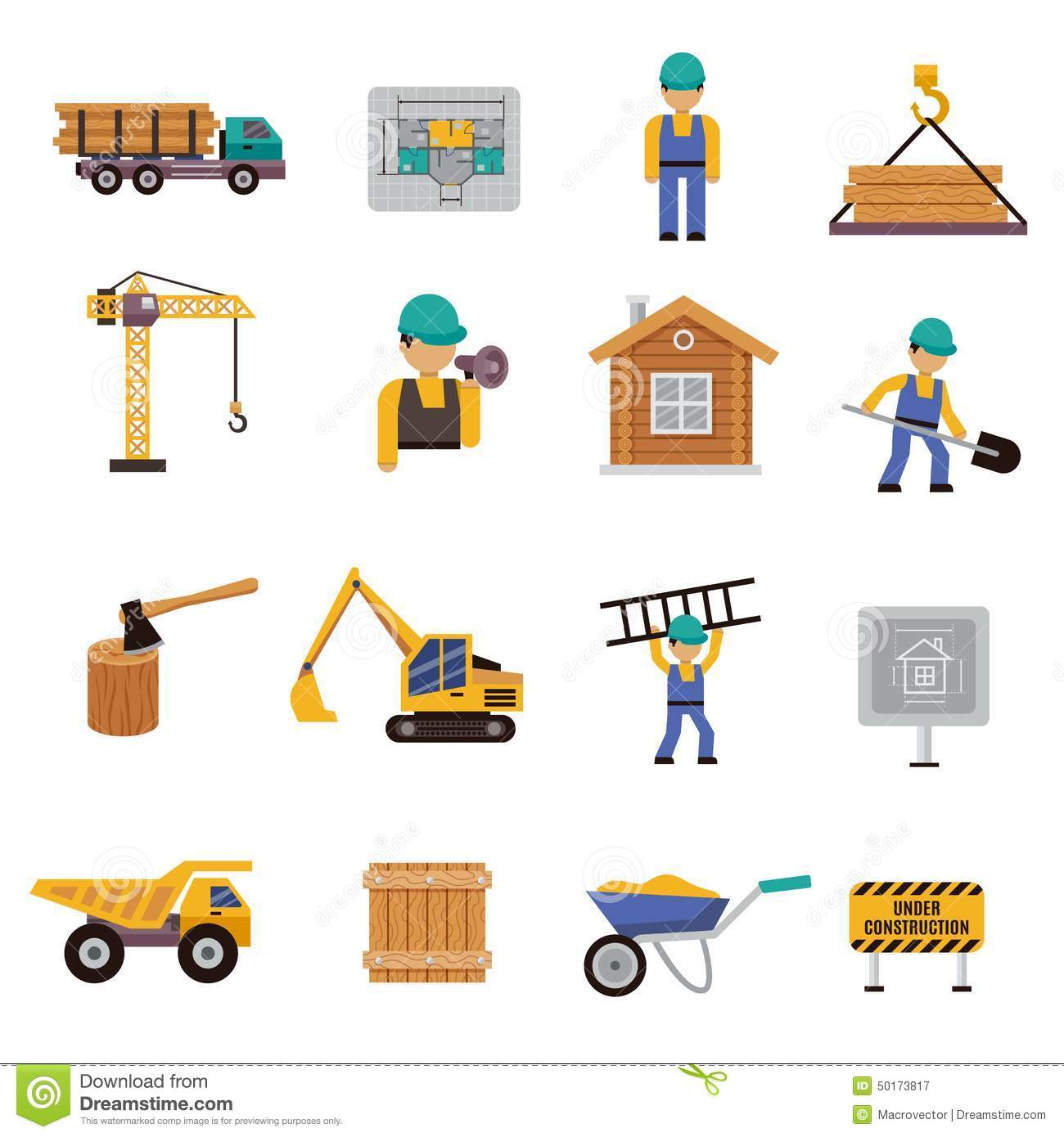 Construction icon flat stock vector illustration of for Production builder