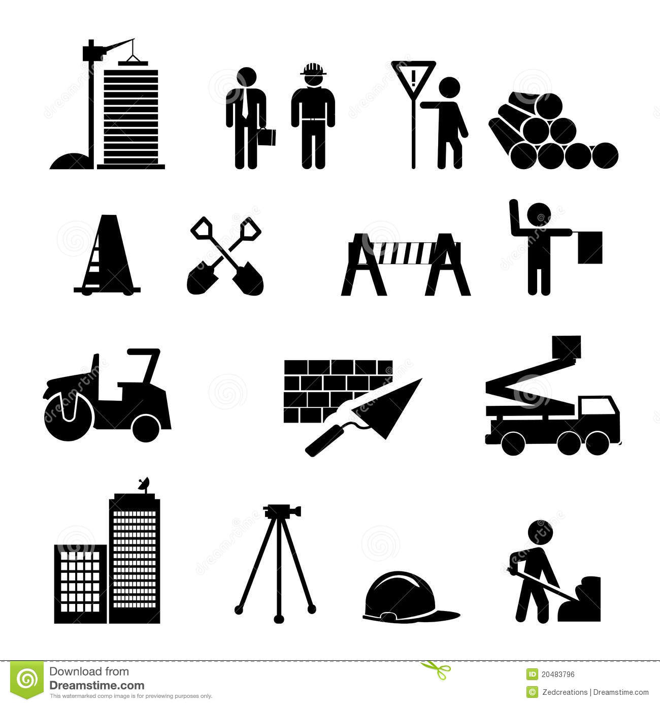 Construction Icons Stock Vector Illustration Of