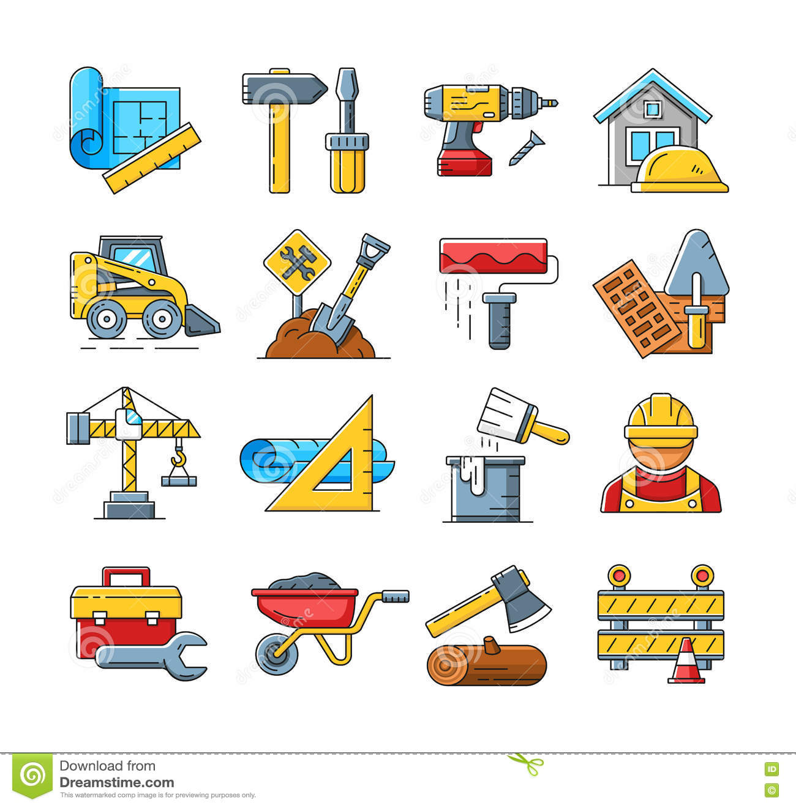 Cartoon Construction Worker Building Power Lines
