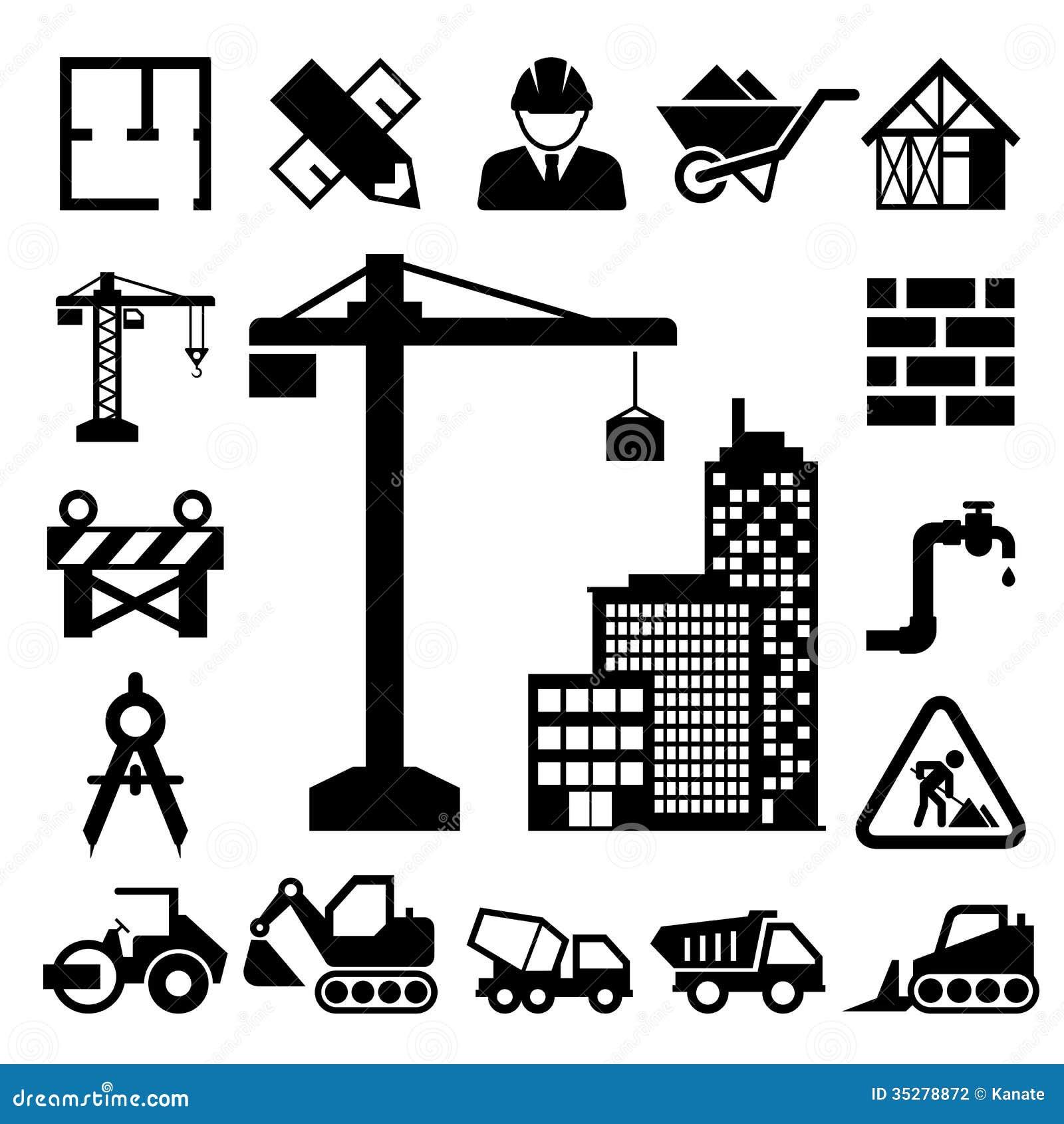 Construction Icons Set Stock Photography  Image: 35278872 - Blueprint Of House