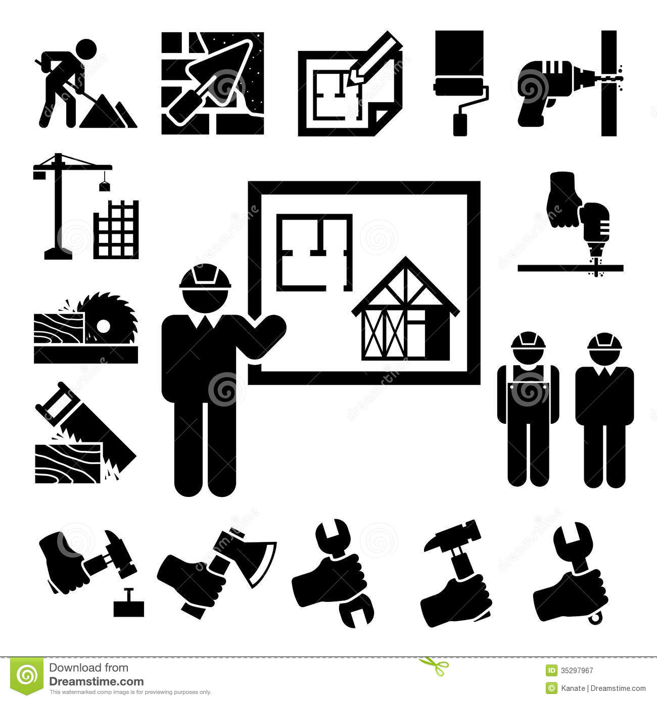 Construction Icons Set Stock Vector Image Of Jack Hammer