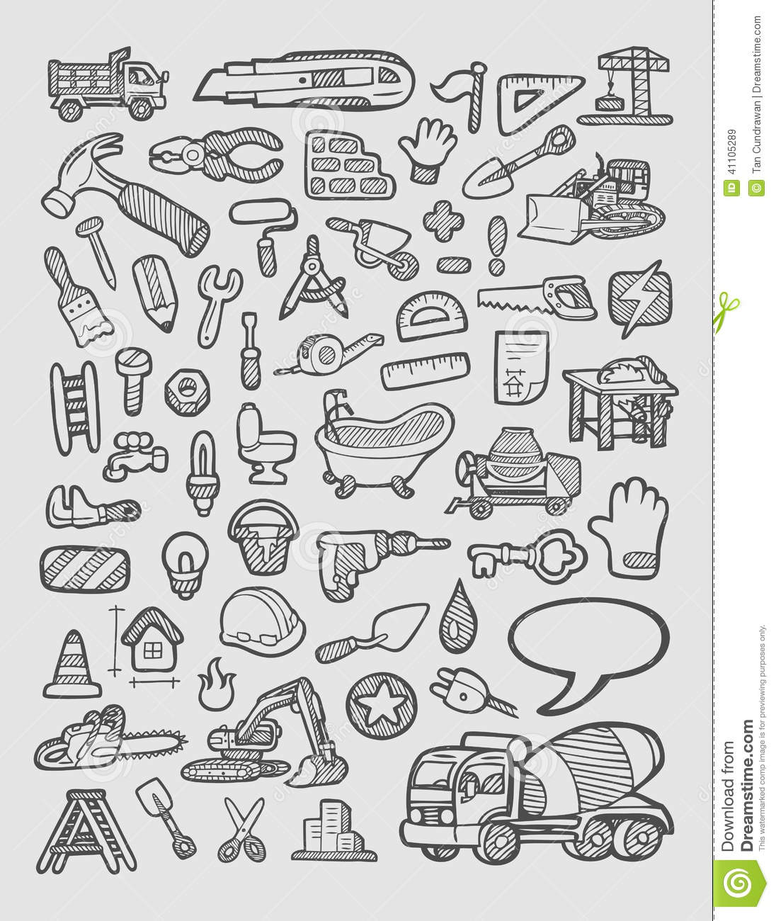 Construction icons sketch stock vector image of drawing for Easy drawing websites