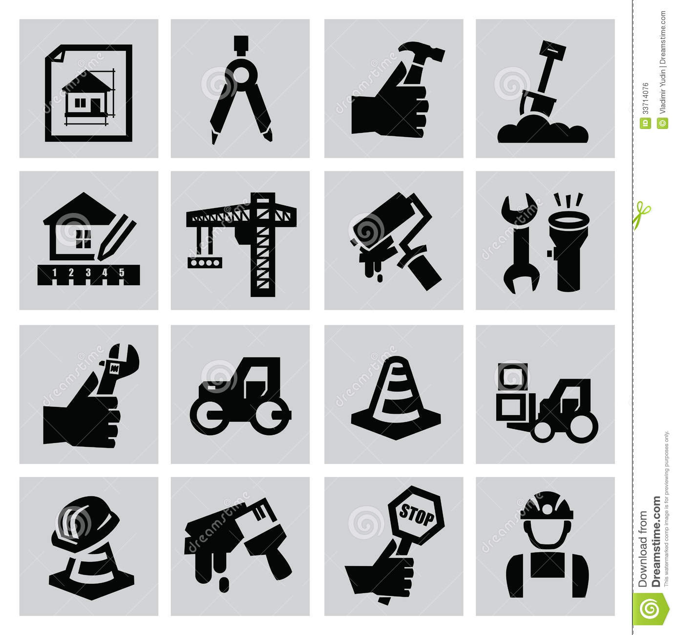 Construction Icons Stock Vector Illustration Of Sand