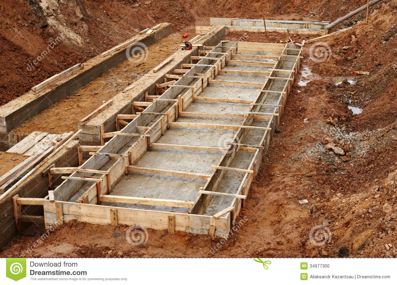 Construction of an industrial building foundation stock for Building home foundation