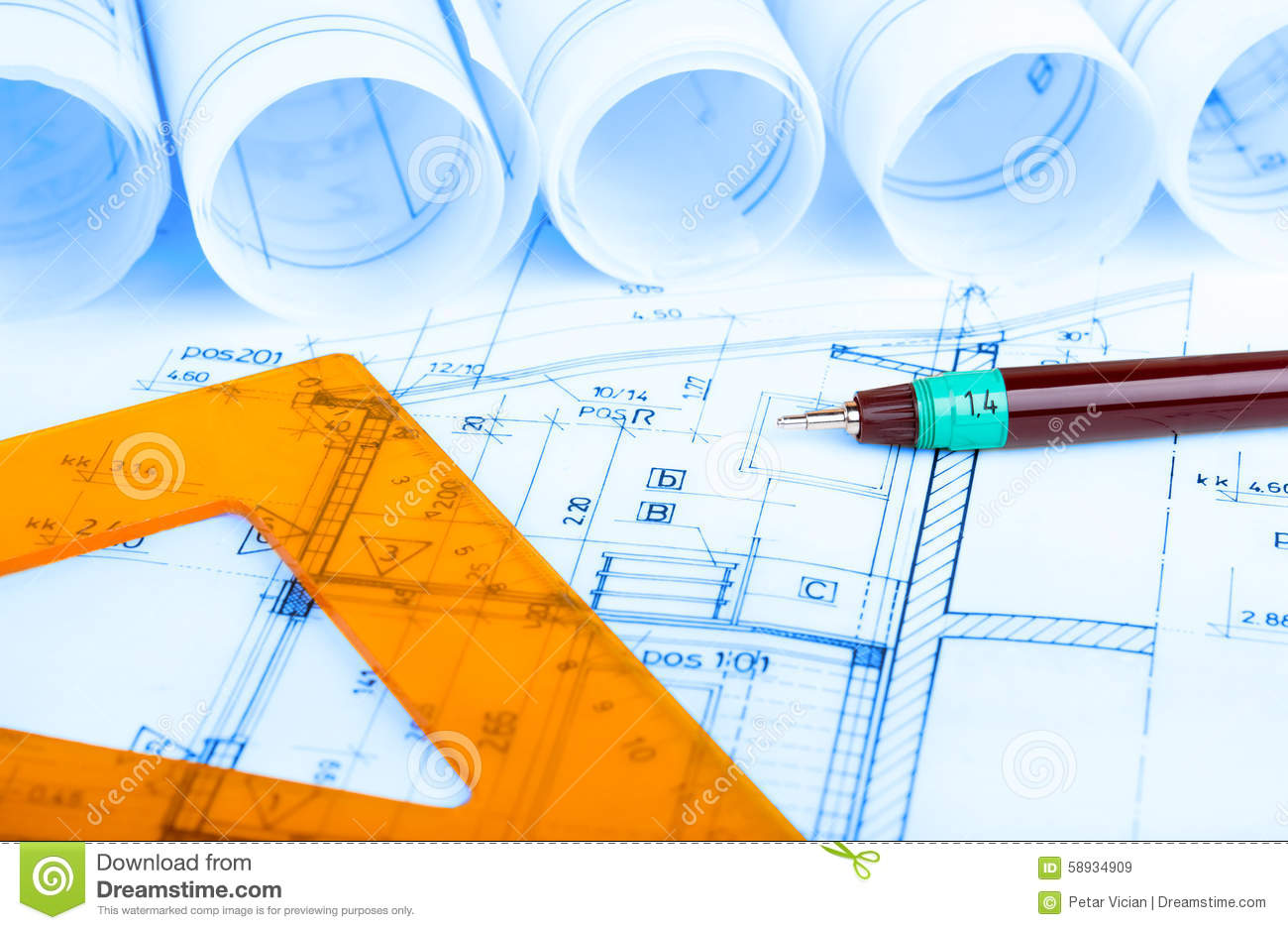 construction industry architecture rolls architectural plans construction industry architecture rolls architectural plans project architect blueprints real estate royalty free stock images