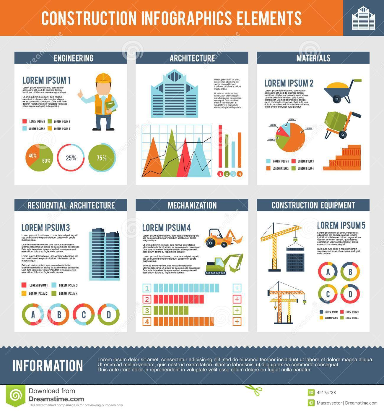Construction infographic set stock vector image 49175738 for Construction info