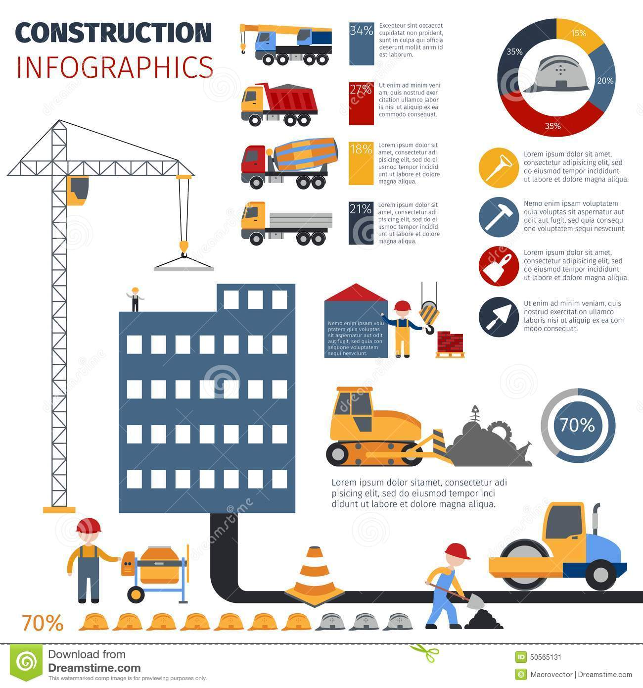 Construction infographics set stock vector illustration for Construction info