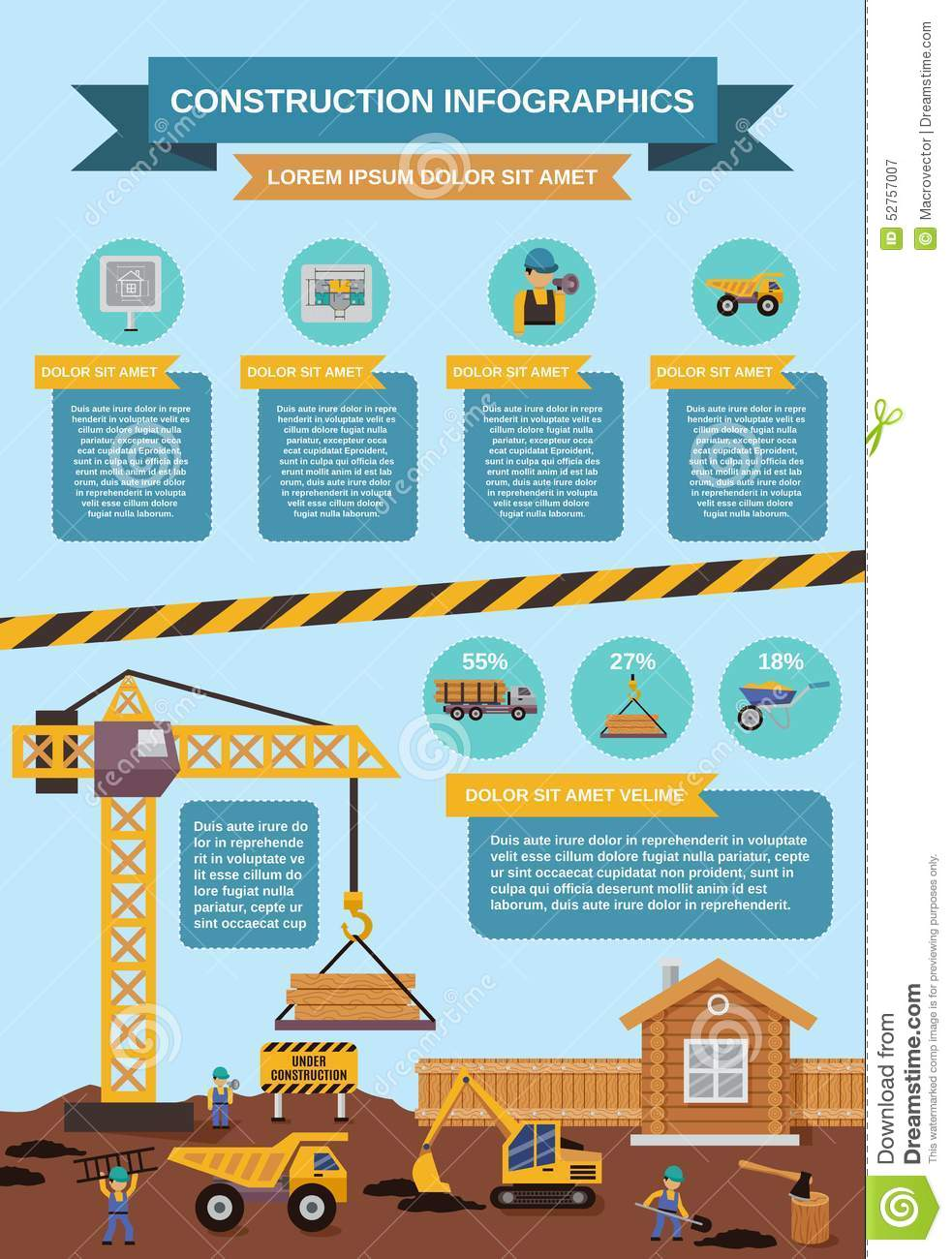 Construction infographics set stock vector image 52757007 for Construction info