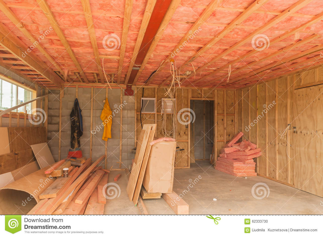 construction, insulation of the ceiling in the garage stock photo