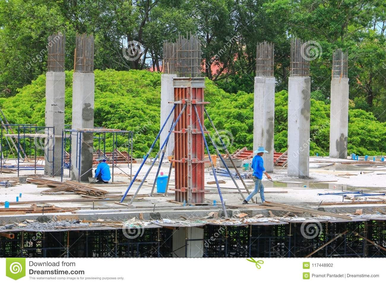 construction laborer team working on high ground building commercial in site workplace