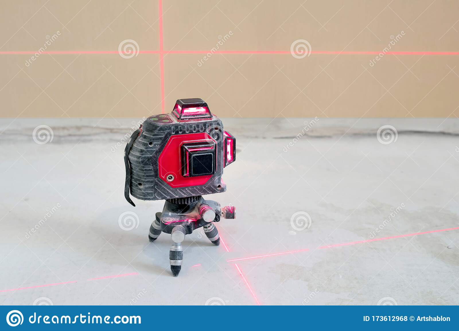 Construction Laser Level On A Wall Background Apartment Renovation And Construction Work Stock Photo Image Of Landsurveying Accuracy 173612968