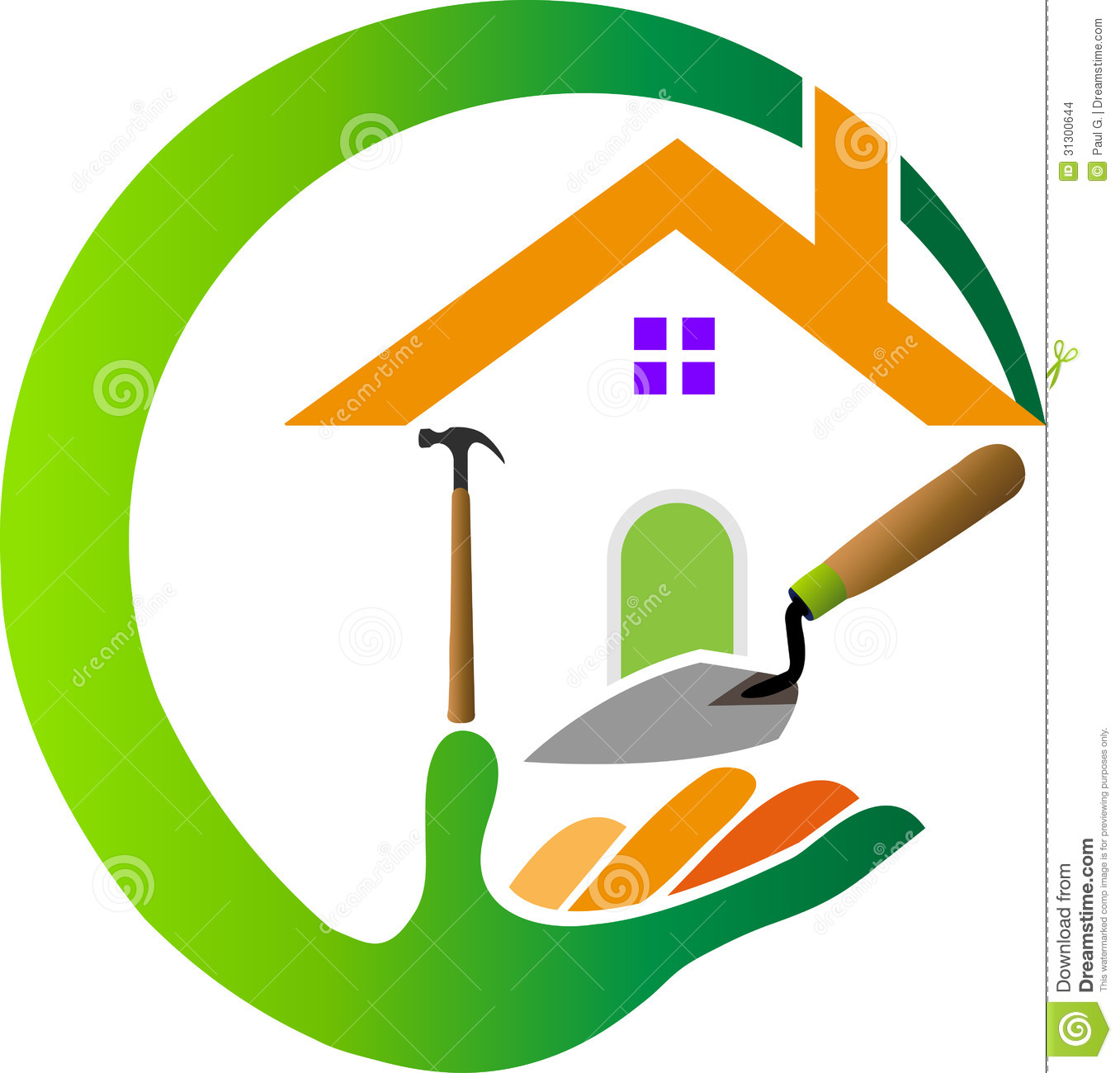 Construction logo stock vector image of home building for Logo drawing tool