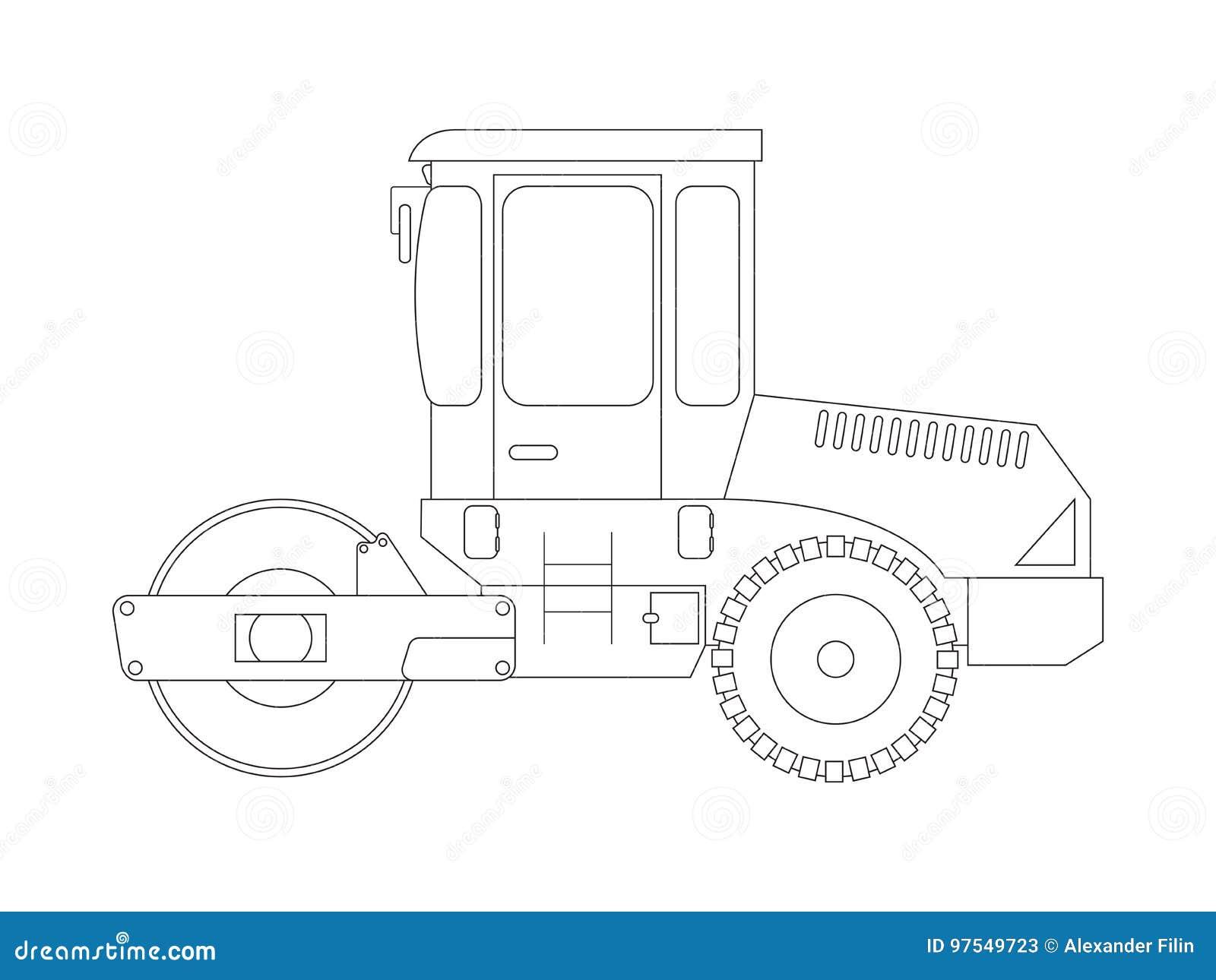 Construction Machine Asphalt Compactor Coloring Pages For Children