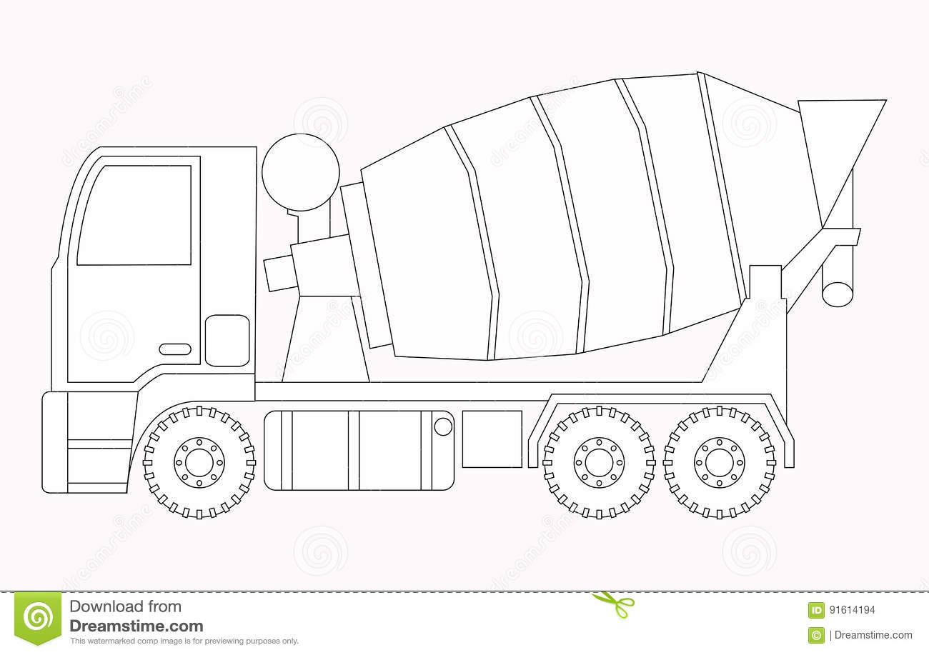 Construction machinery coloring pages - Construction Machinery Concrete Mixer Coloring Pages For Children