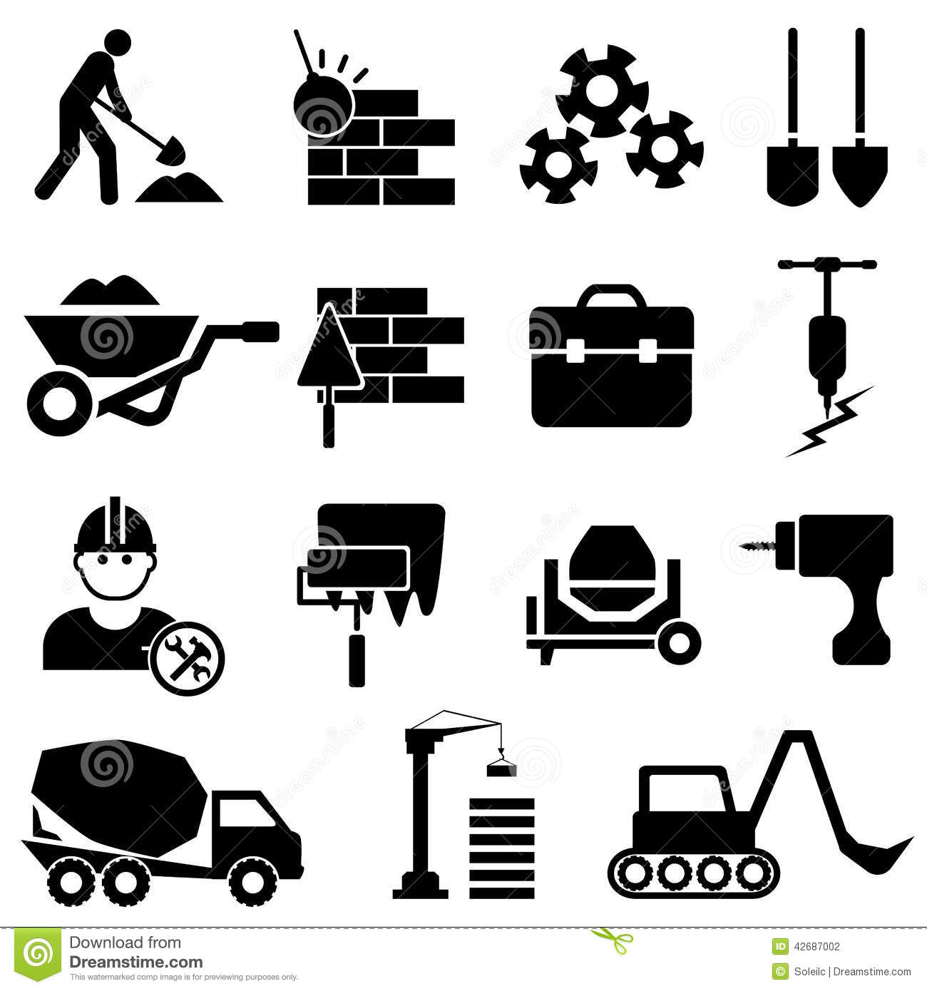 Construction And Machinery Icons Stock Vector Image
