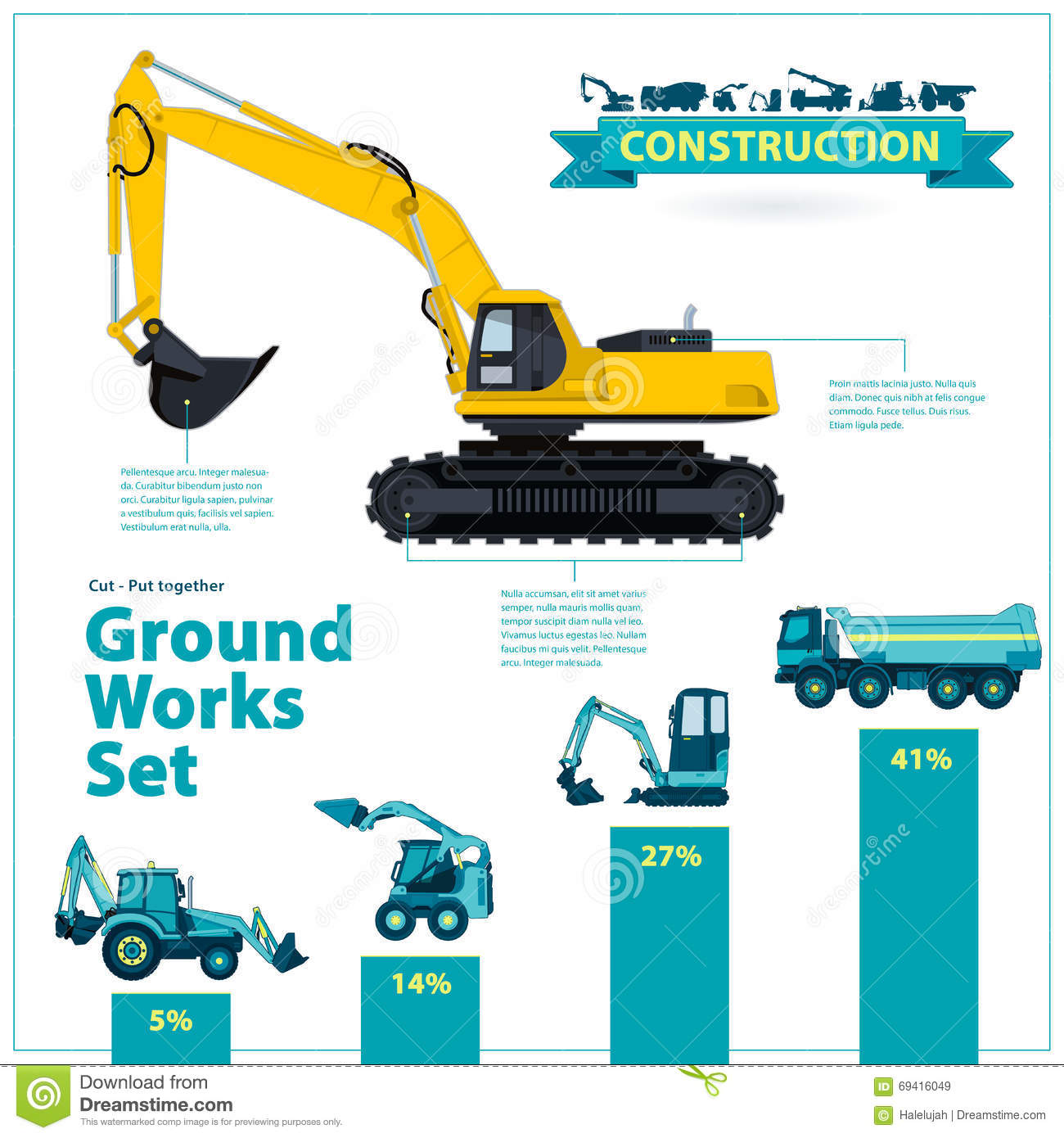 Construction machinery infographic big set of ground works for Construction info