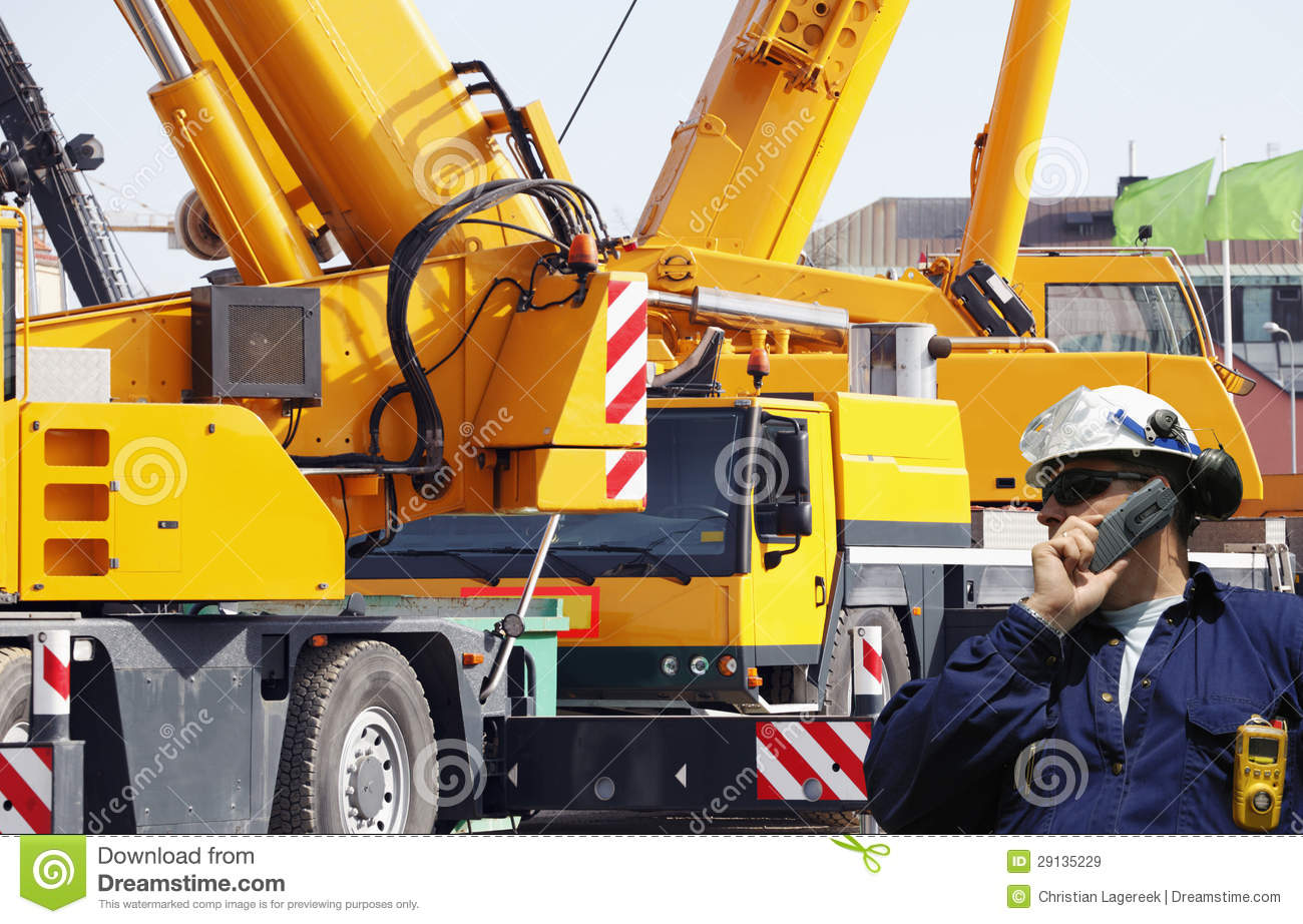 Construction machinery and workers