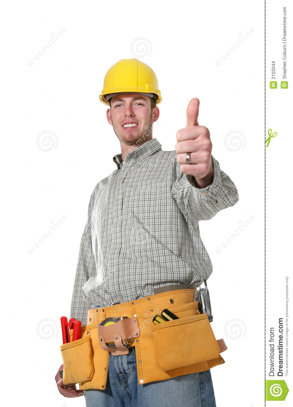 handsome construction man with his thumbs up isolated over white ...