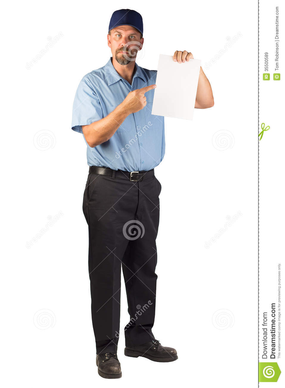 Construction Man Standing And Holing A Blank Document Pointing – Blank Document Free