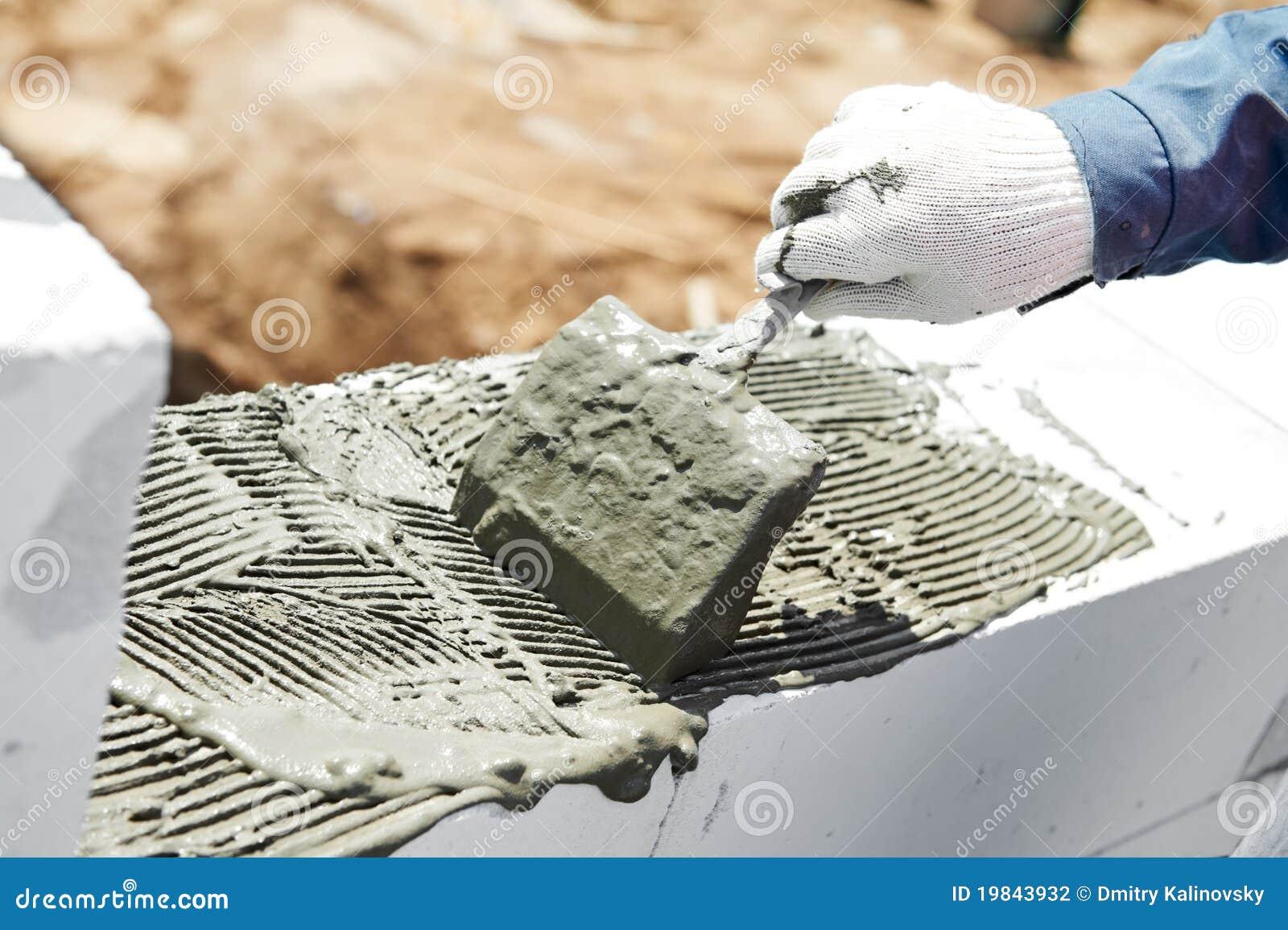 Construction mason bricklaying work