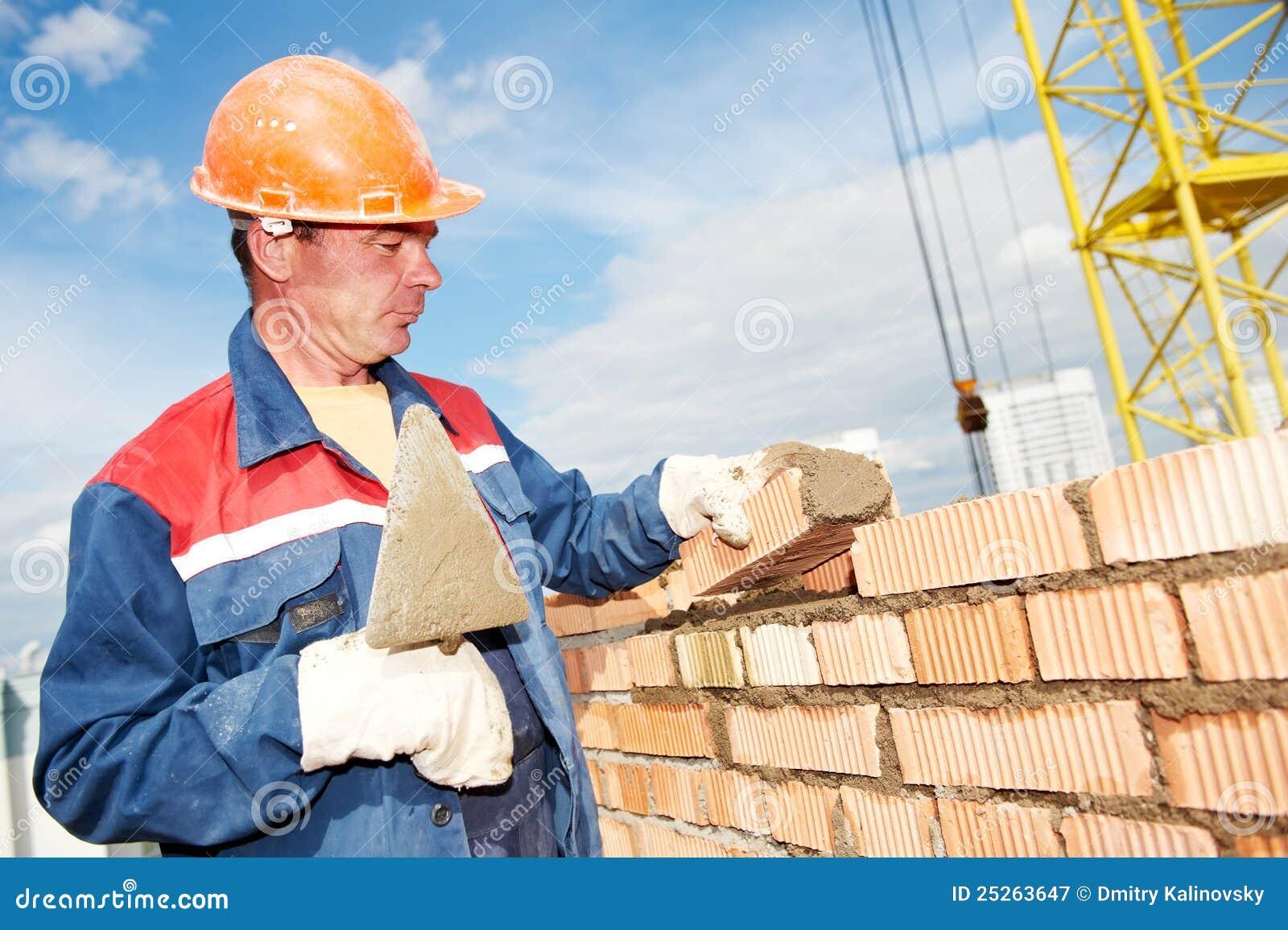 Construction Mason Worker Bricklayer Royalty Free Stock