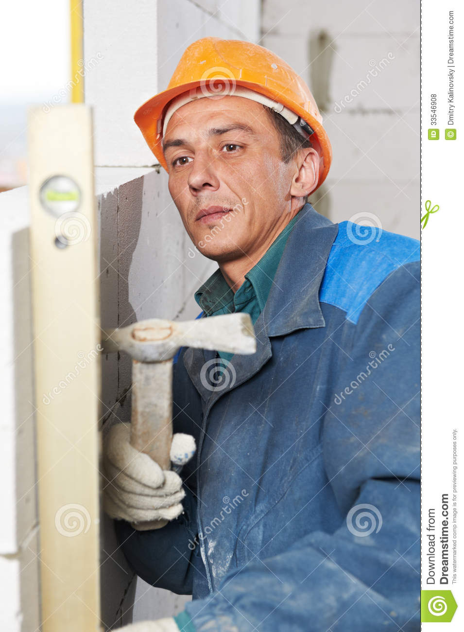 Calcium Silicate Brick Chipped : Construction mason worker bricklayer with level royalty