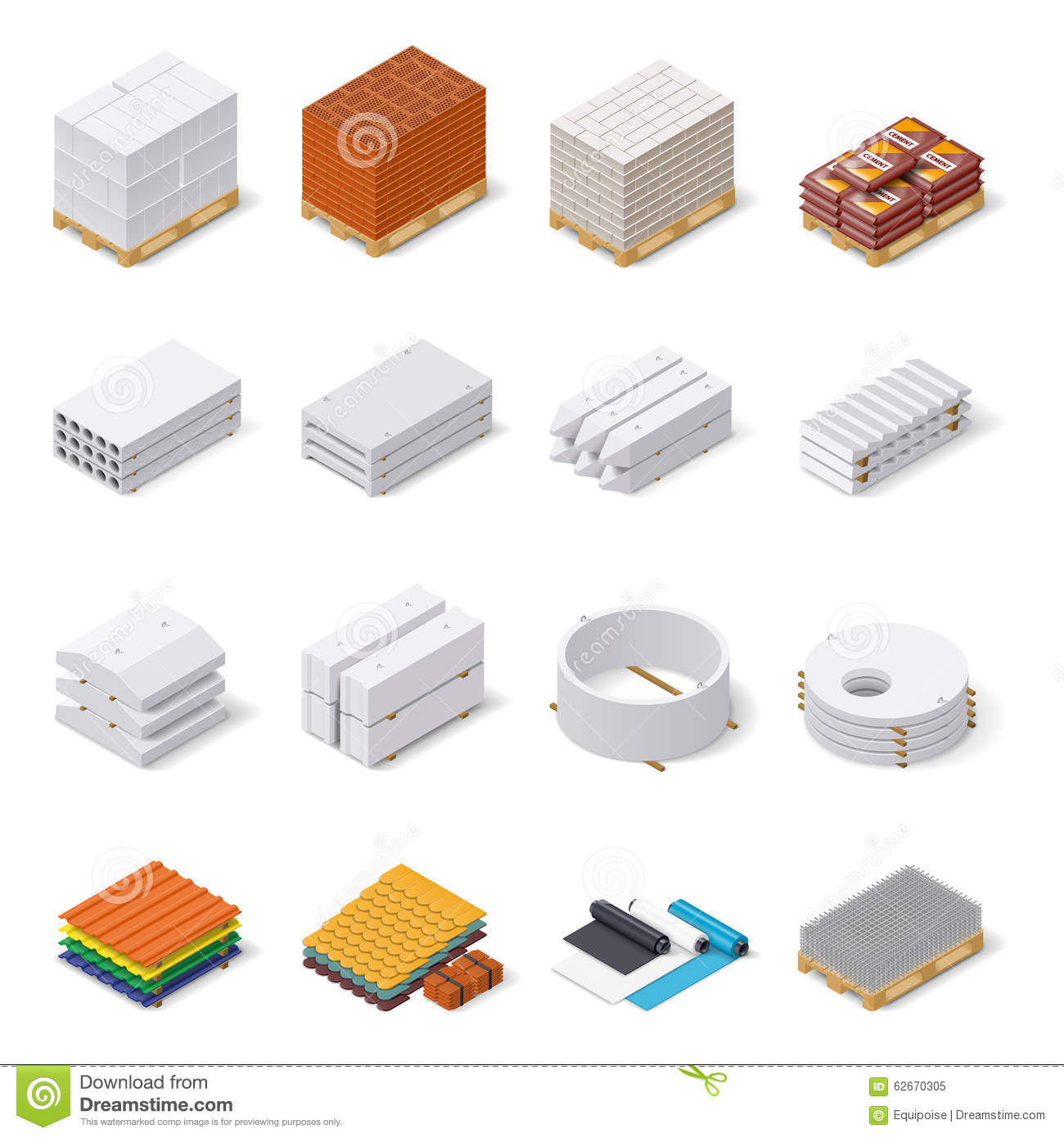 Construction Materials Isometric Icon Set Stock Vector