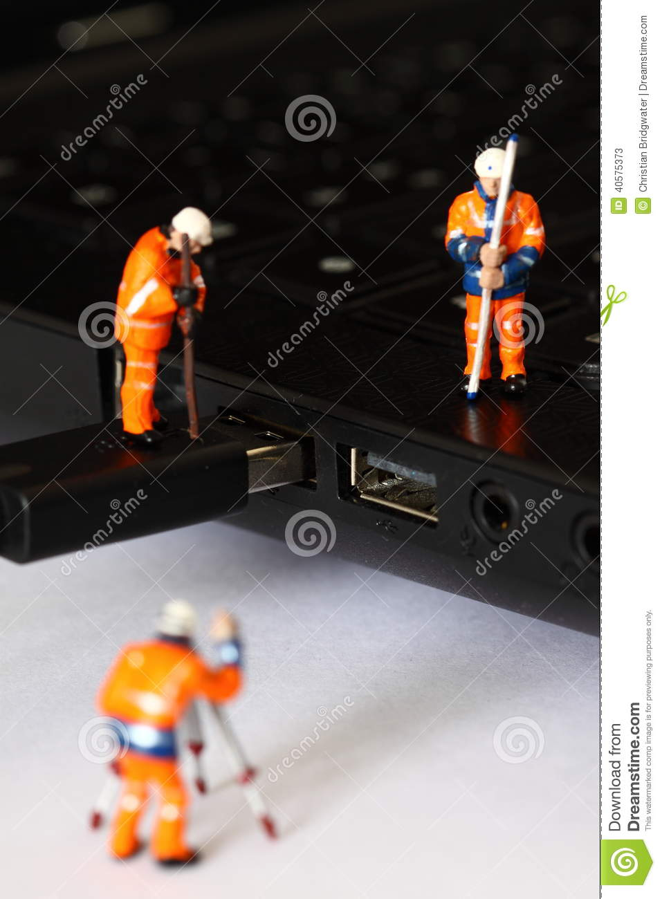 Construction model workers USB cable C