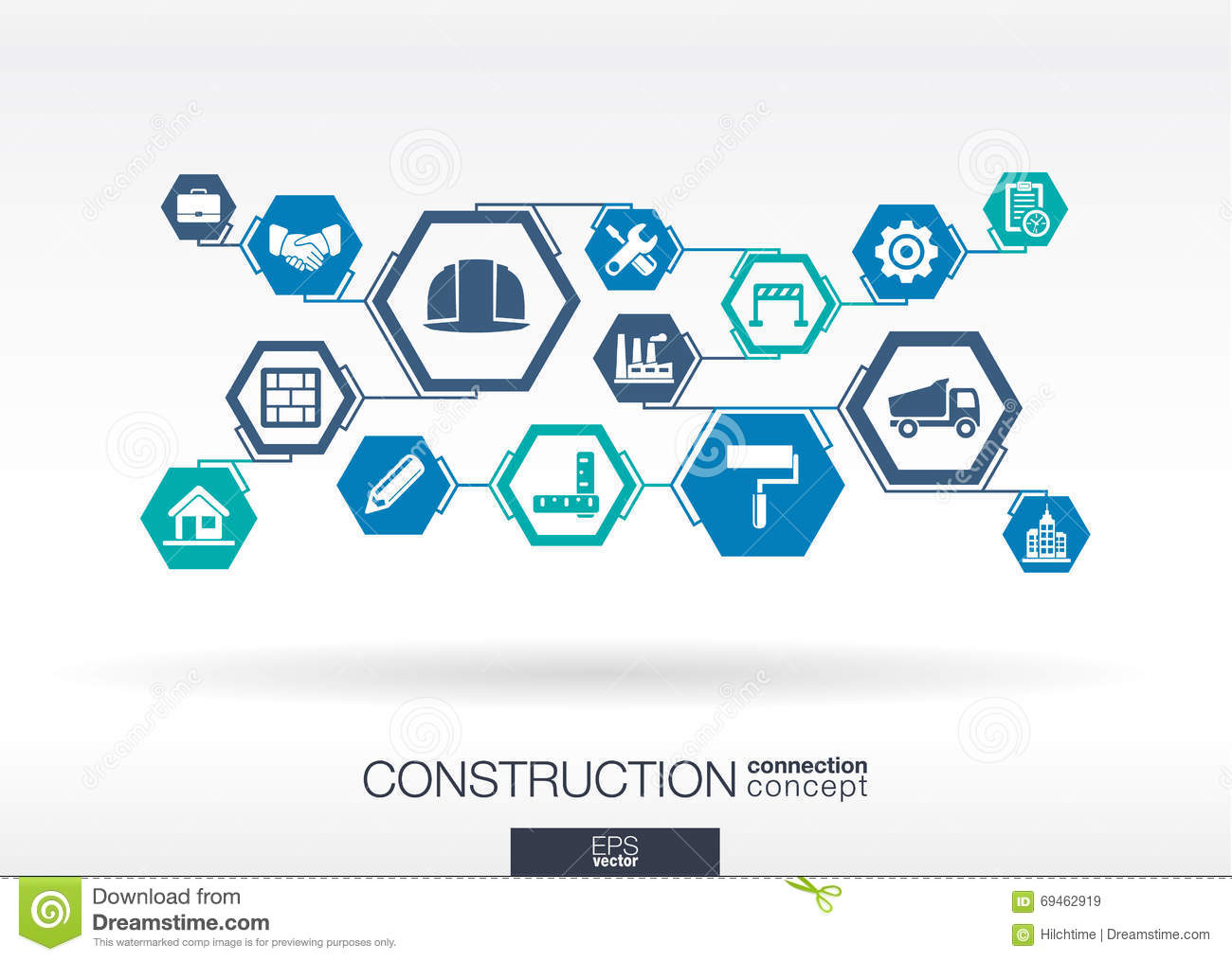 Construction network hexagon abstract background stock for Contractors network