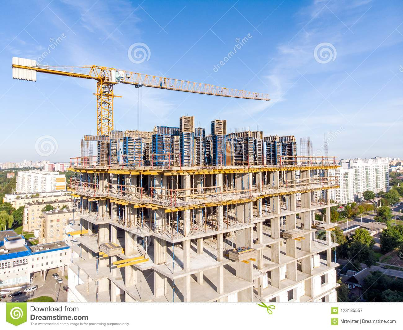 Construction of new apartment building. construction site with t