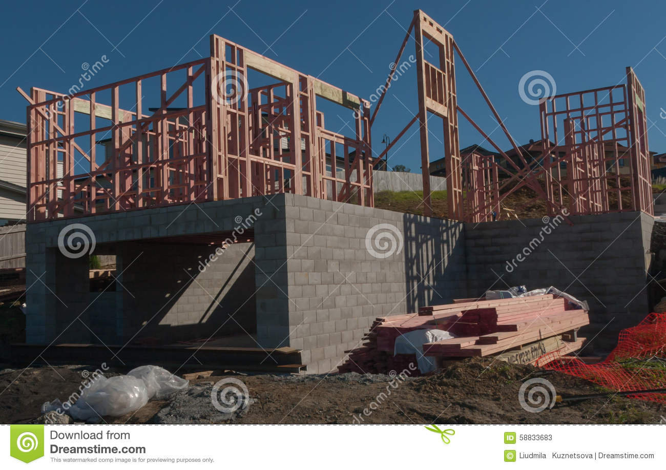 construction of new home building auckland new zealand stock photo